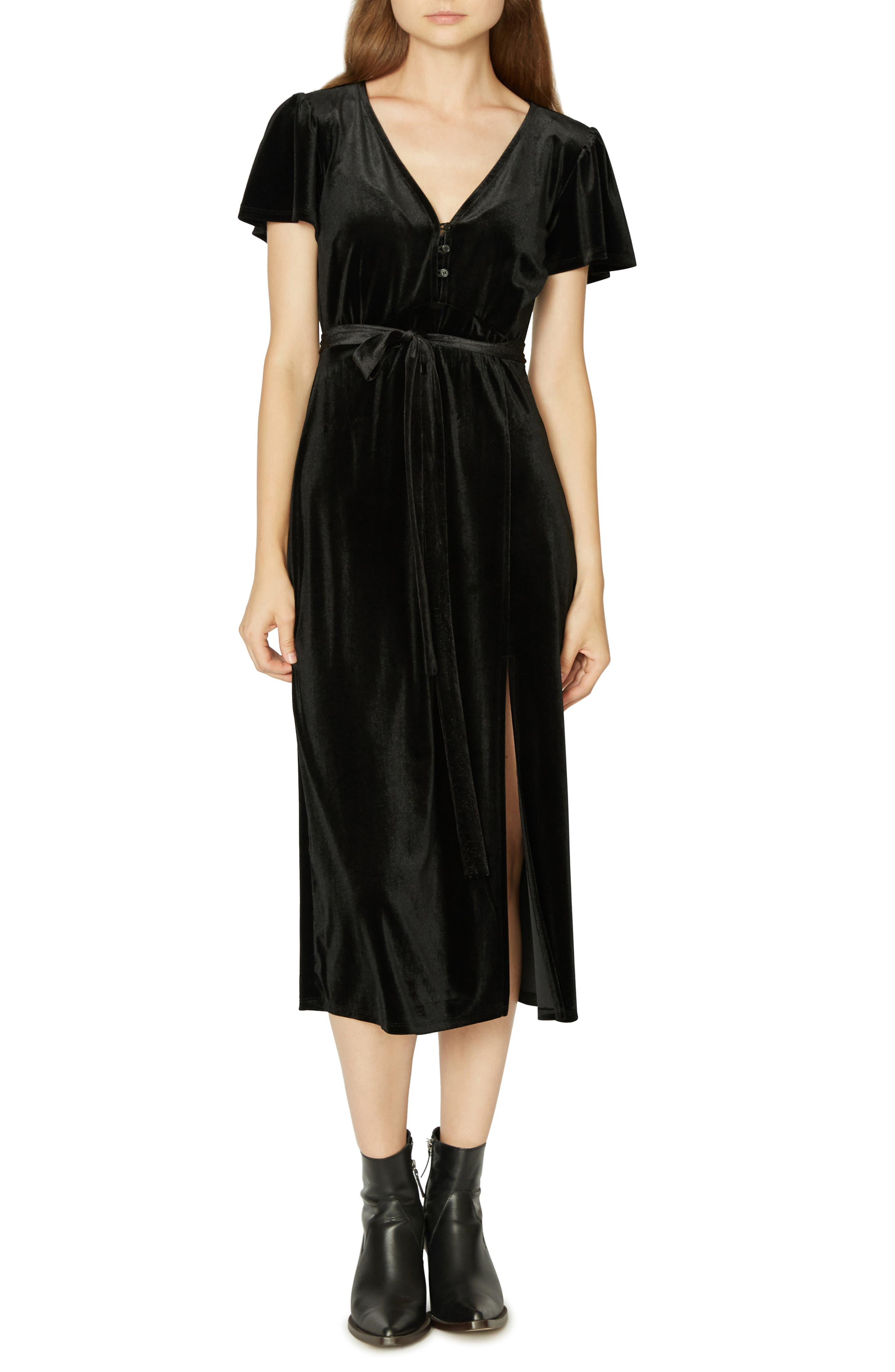Airy Night Midi Dress,                             Alternate thumbnail 4, color,                             001