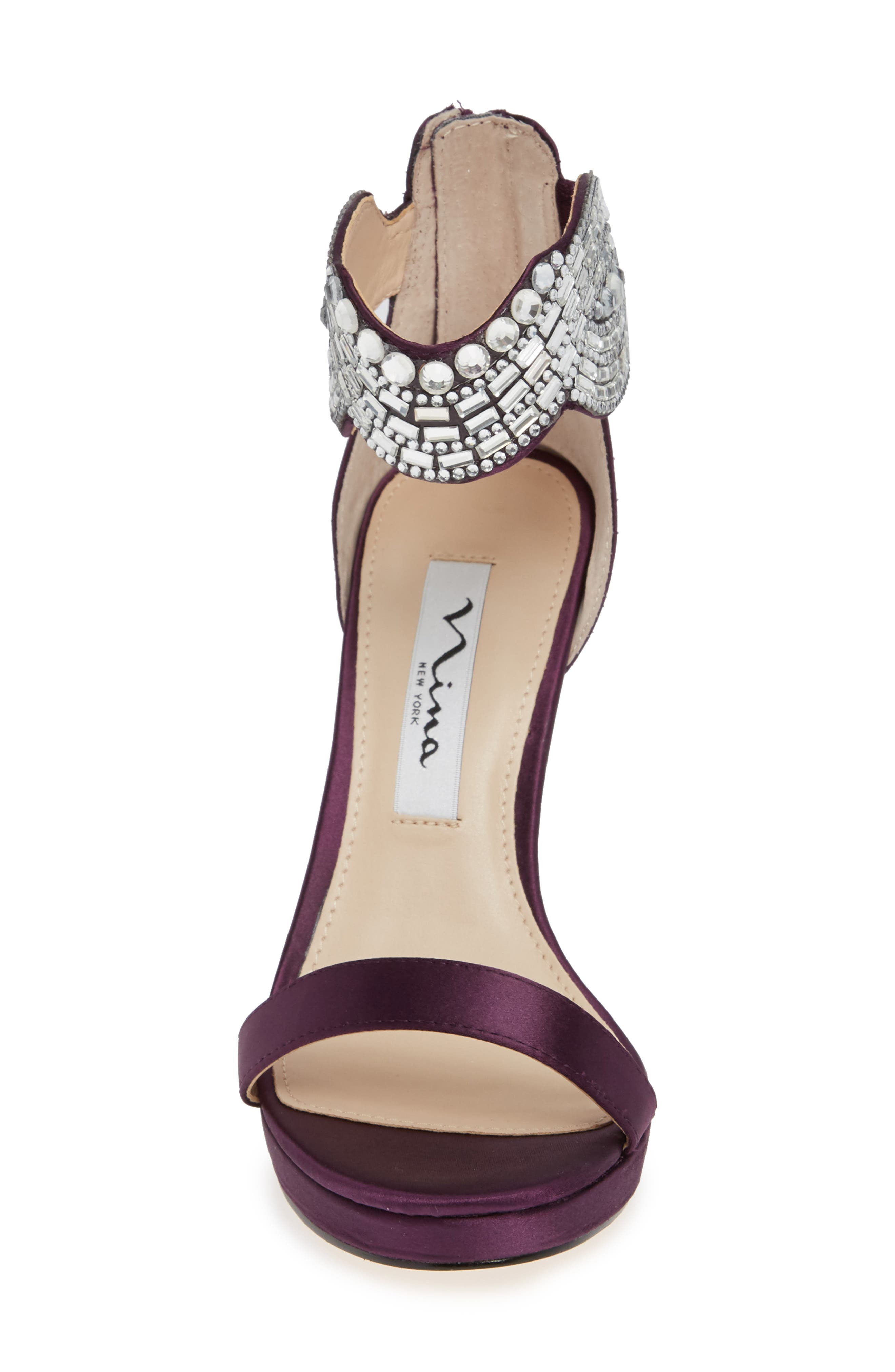 Fayth Jeweled Ankle Cuff Sandal,                             Alternate thumbnail 4, color,                             EGGPLANT SATIN