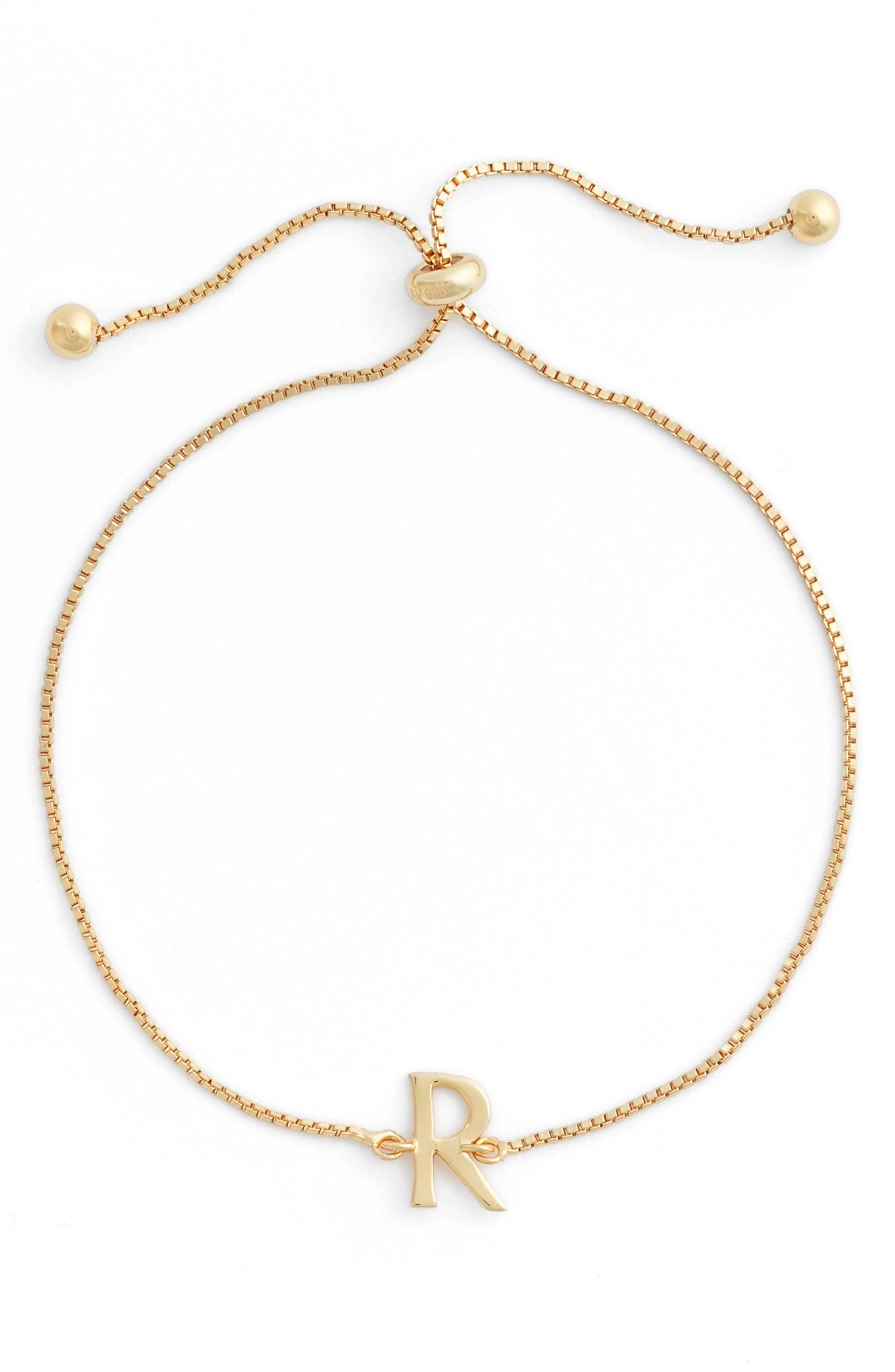 Gold Initial Bracelet,                         Main,                         color, 708