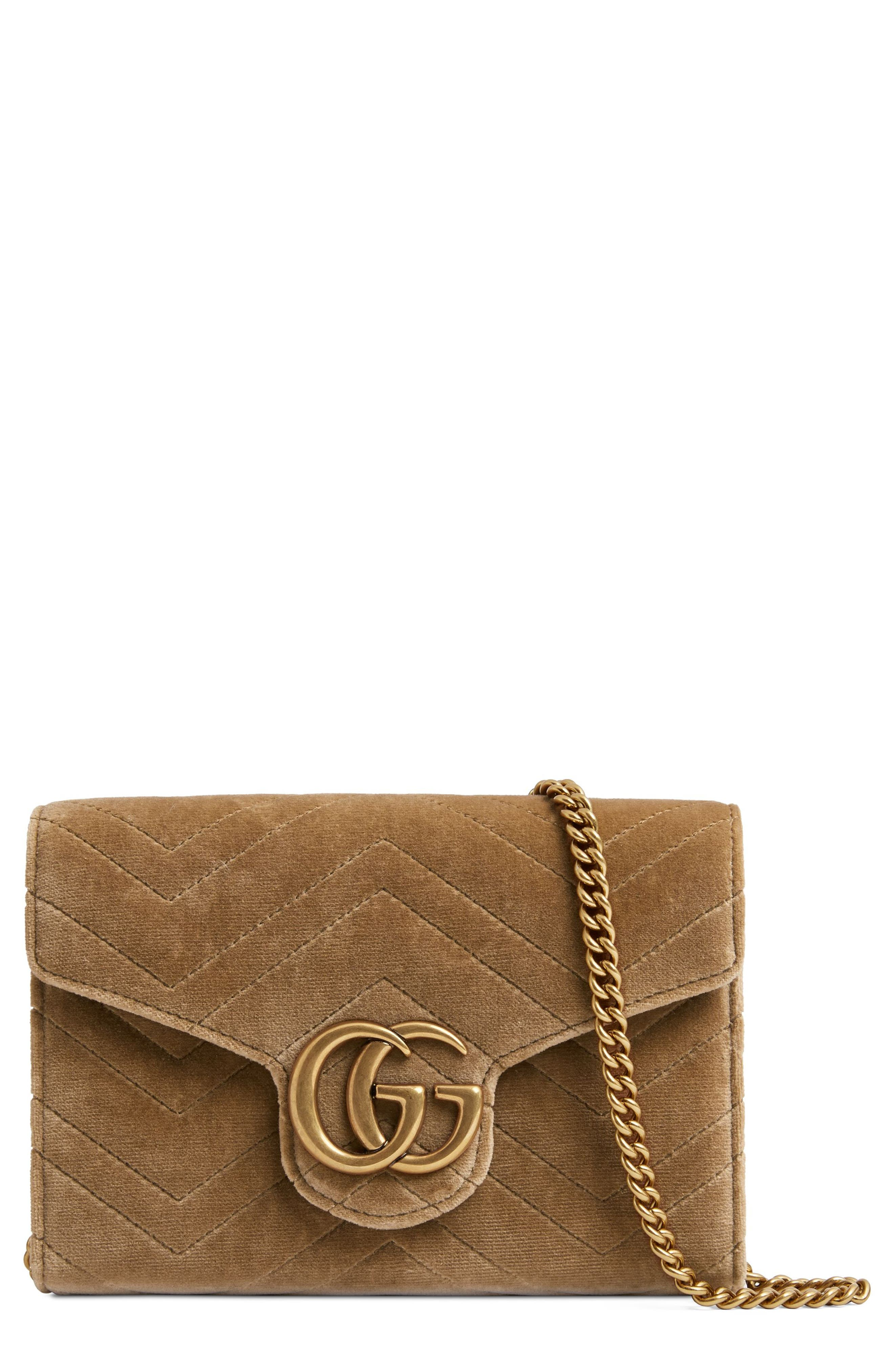GG Marmont 2.0 Matelassé Velvet Wallet on a Chain,                         Main,                         color, TAUPE/ TAUPE