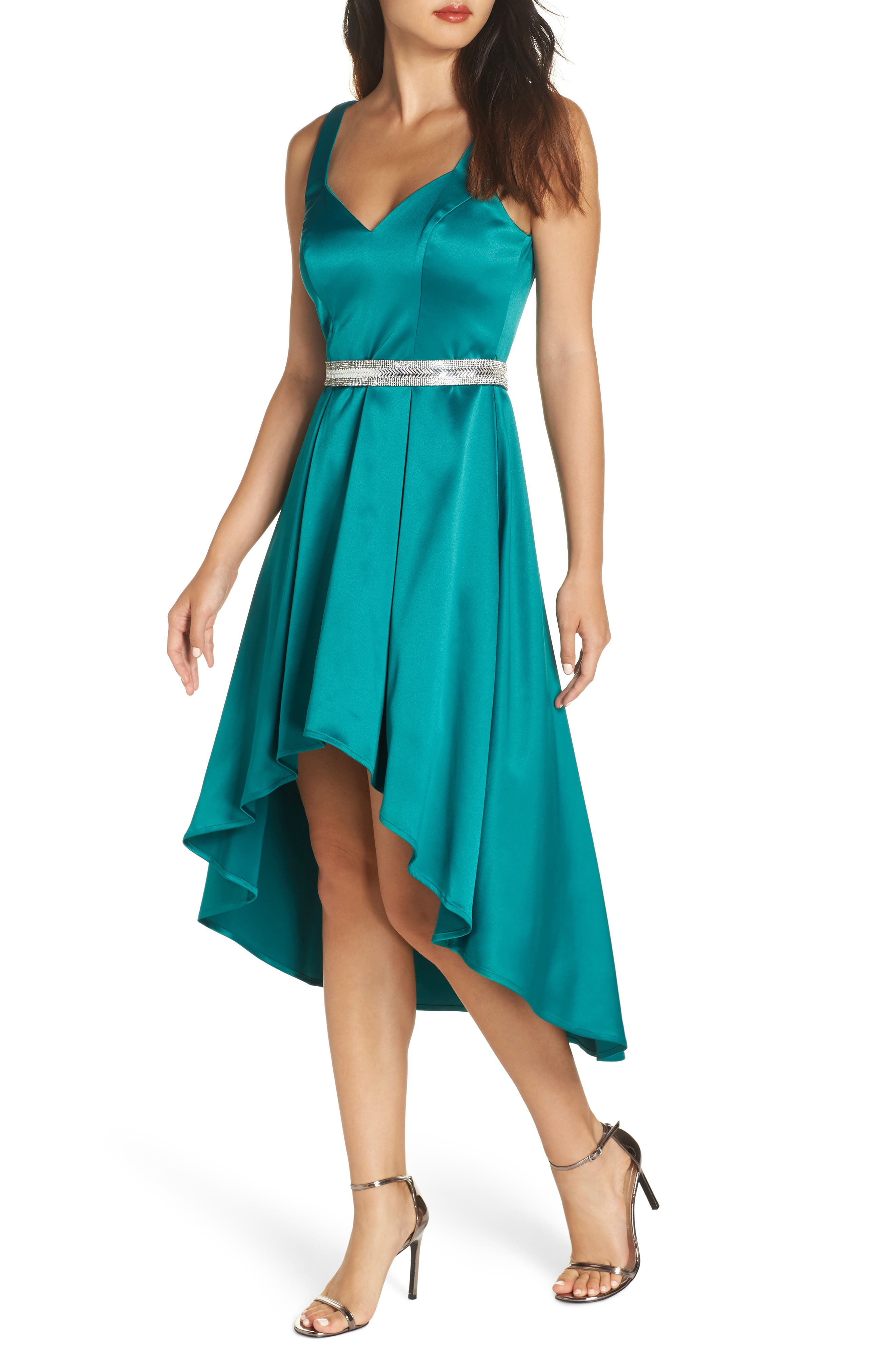 Belted Stretch Satin High/Low Dress,                         Main,                         color, EMERALD