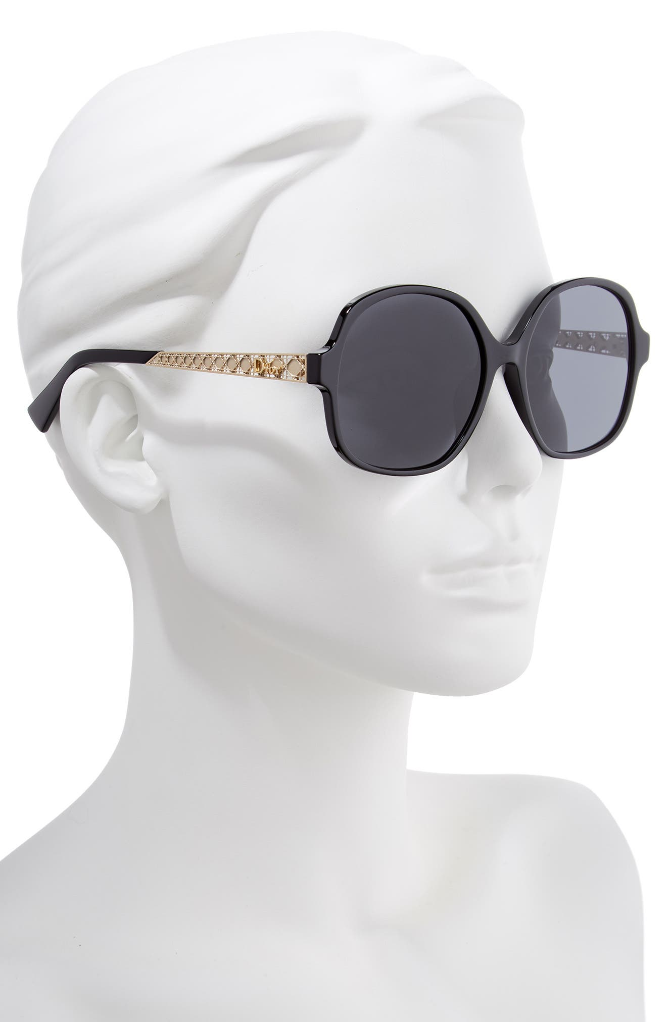 DIOR,                             Diorama 58mm Special Fit Round Sunglasses,                             Alternate thumbnail 2, color,                             BLACK