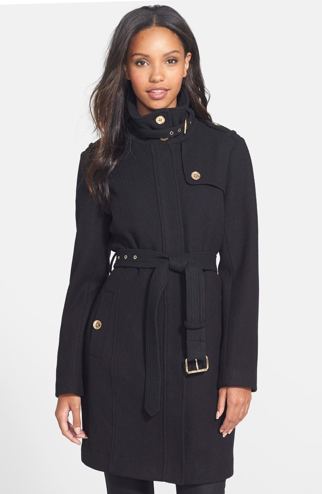 Stand Collar Wool Blend Trench Coat,                             Main thumbnail 1, color,                             001