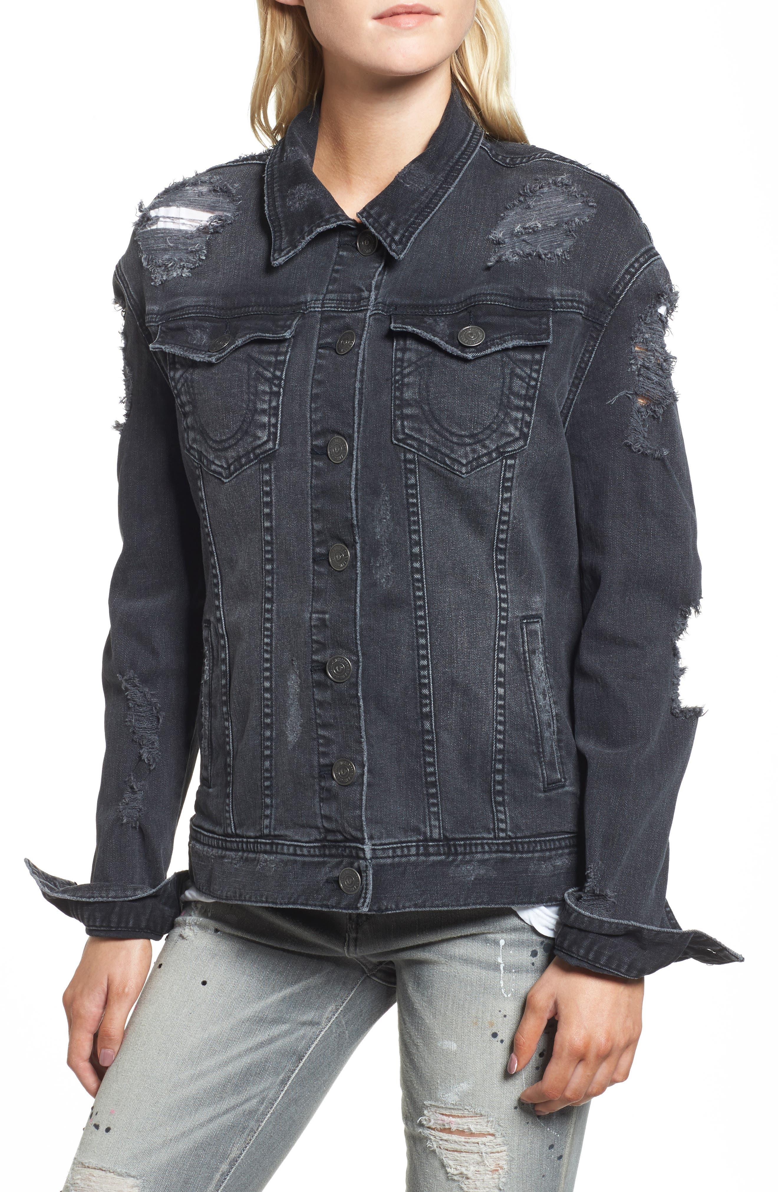 True Religion Danni Destroyed Denim Jacket,                             Alternate thumbnail 4, color,