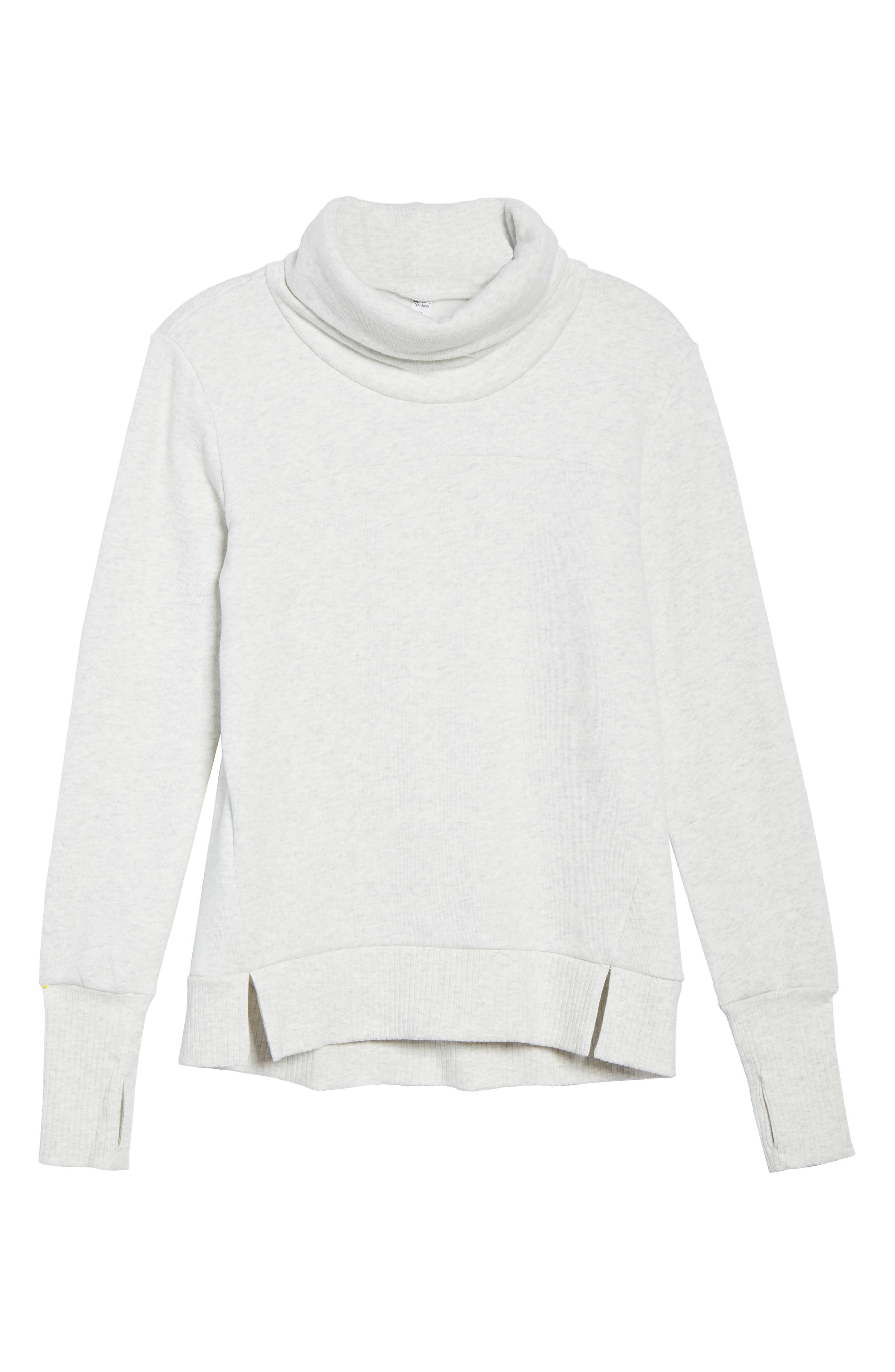 'Haze' Funnel Neck Sweatshirt,                             Alternate thumbnail 7, color,                             WHITE HEATHER