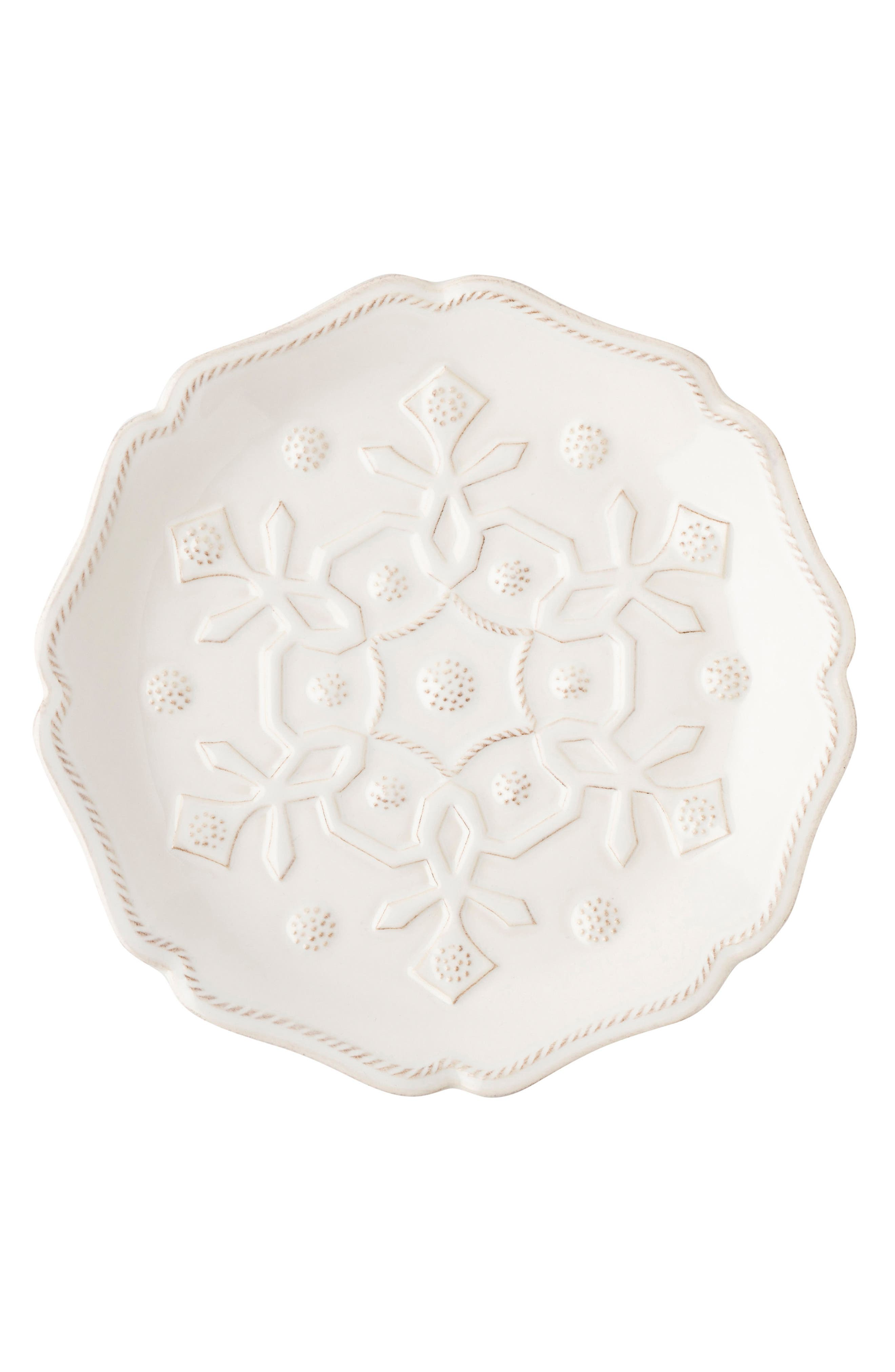 Snowfall Whitewash Set of 4 Ceramic Tidbit Plates,                             Alternate thumbnail 3, color,                             100