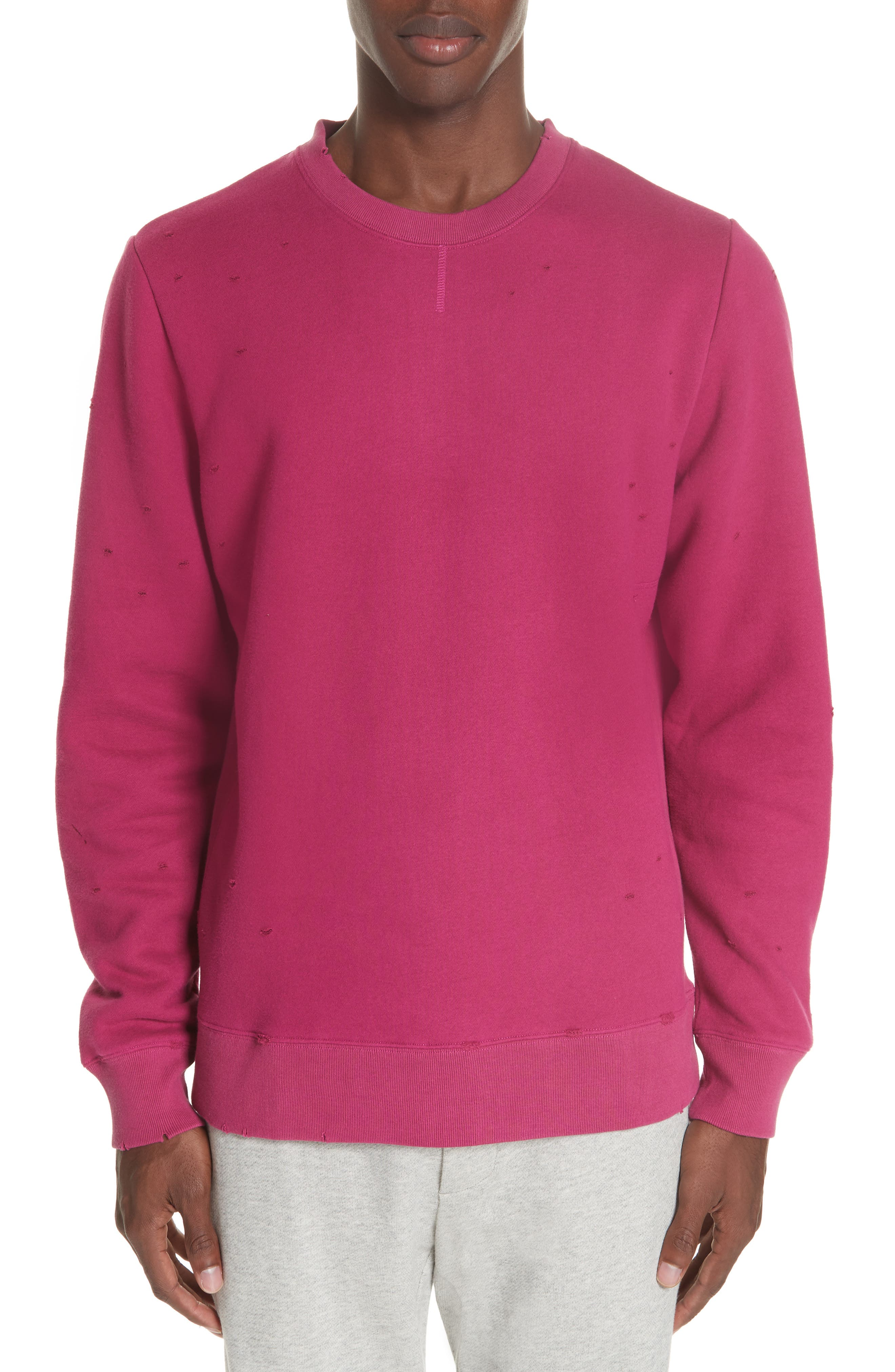 Distressed Crewneck Sweatshirt,                         Main,                         color, RASBERRY