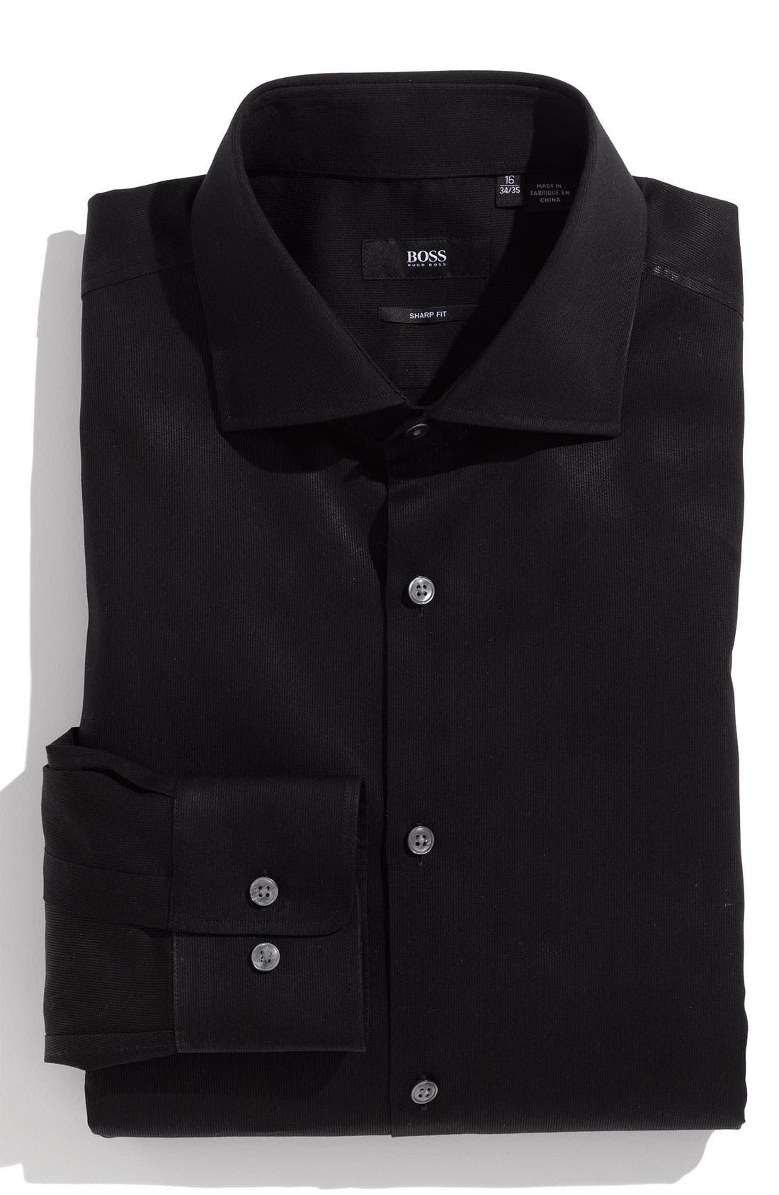 BOSS,                             HUGO BOSS 'Miles' Sharp Fit Tonal Stripe Cotton Dress Shirt,                             Main thumbnail 1, color,                             001