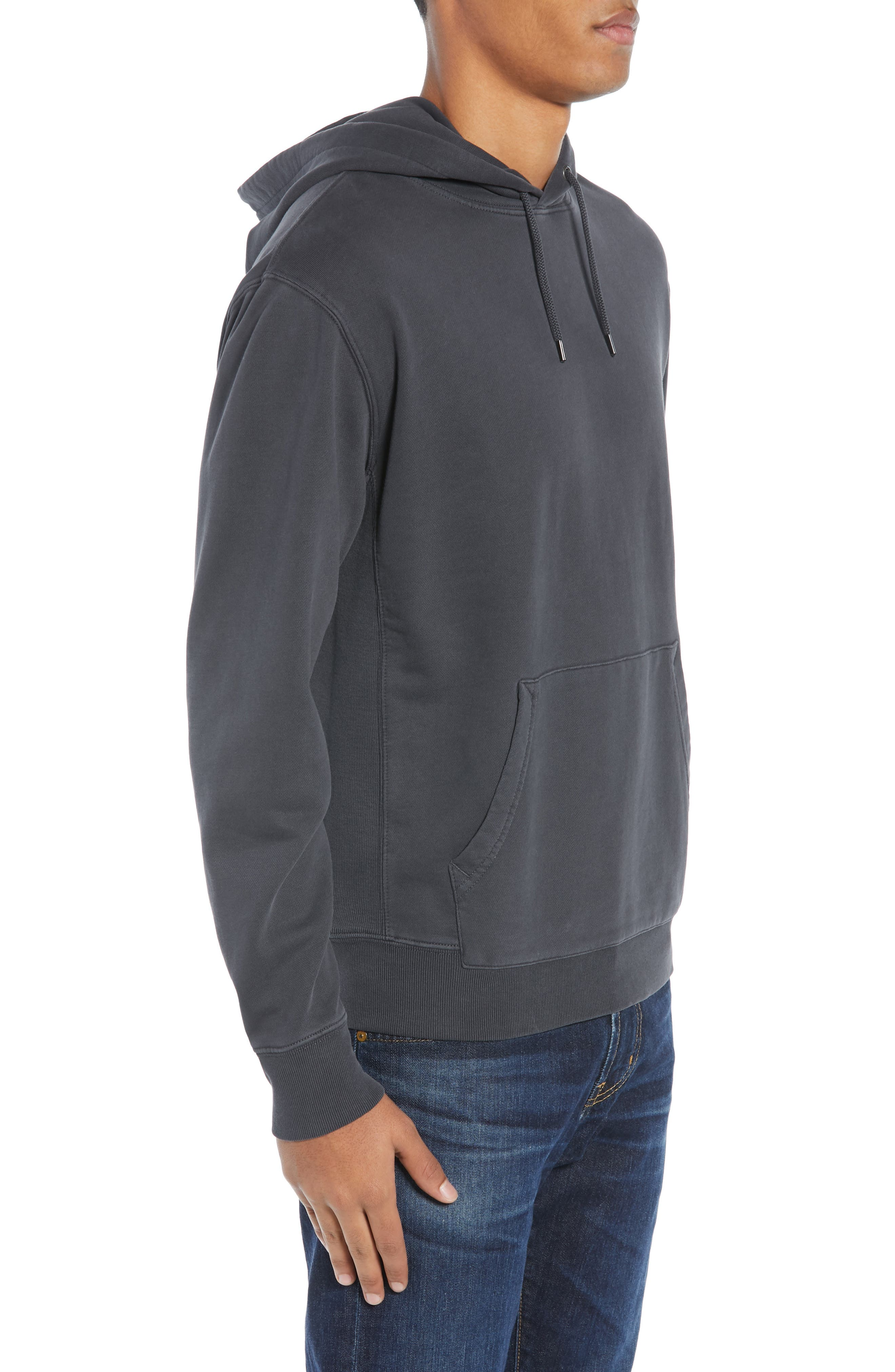 Garment Dyed French Terry Hoodie,                             Alternate thumbnail 3, color,                             WASHED OUT BLACK