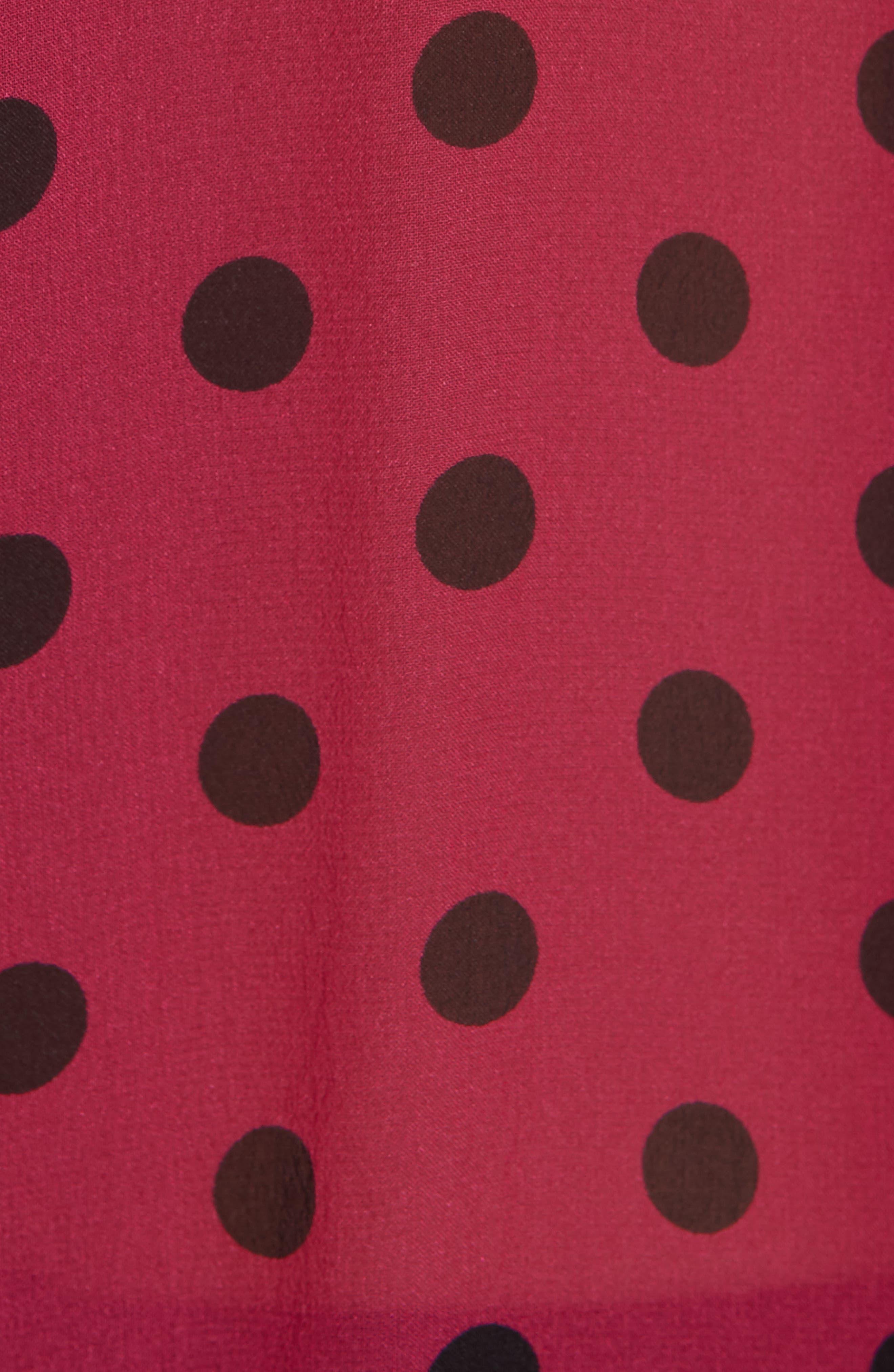 Daddy Polka Dot Silk Shirt,                             Alternate thumbnail 5, color,                             AMARANTH TRUE BLACK