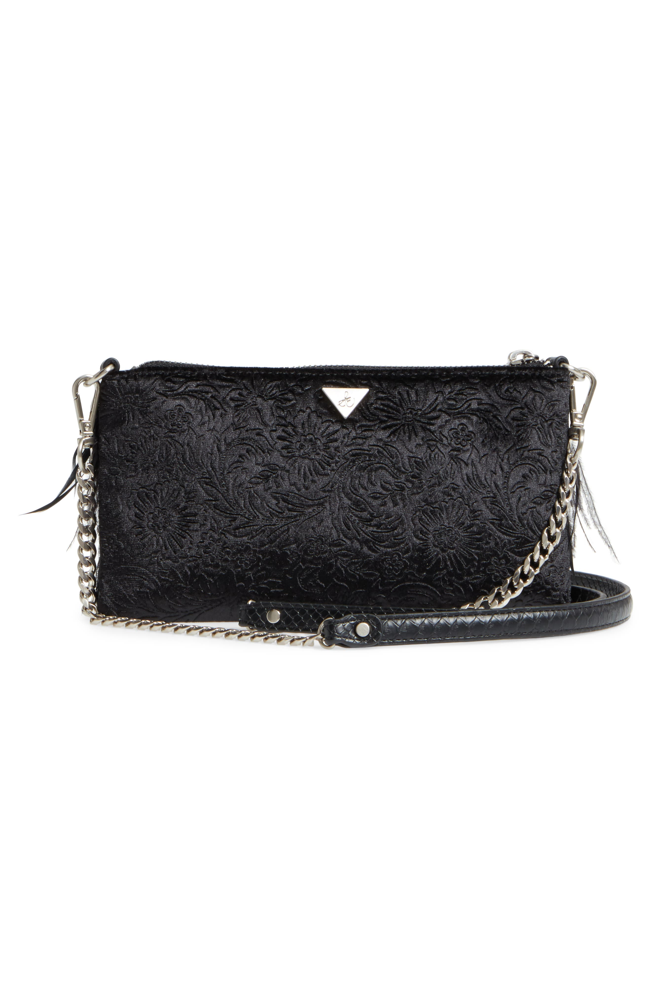 Carrina Faux Leather Convertible Clutch,                             Alternate thumbnail 3, color,                             001