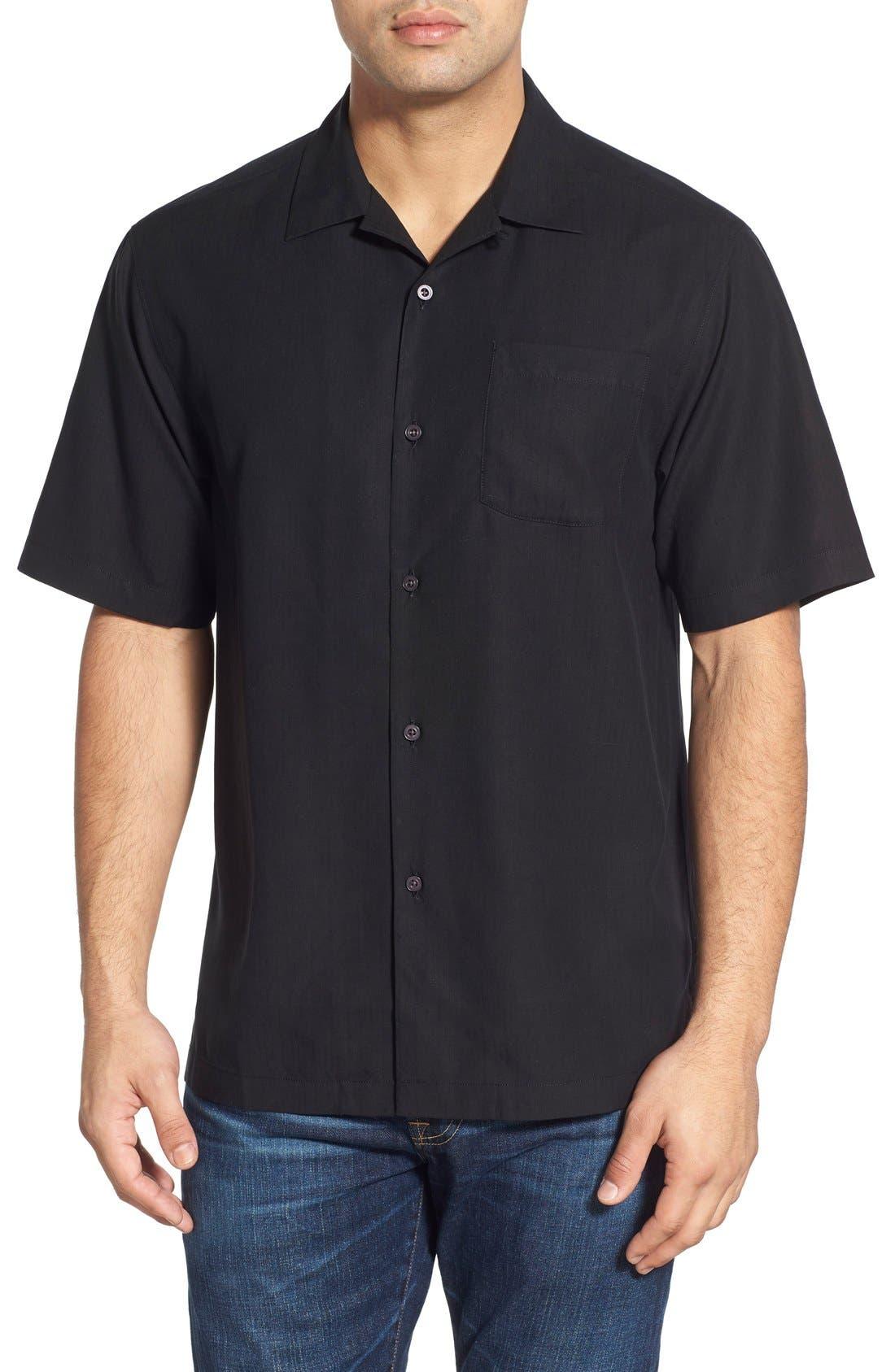 Java Dobby Original Fit Silk Camp Shirt,                             Main thumbnail 1, color,                             001