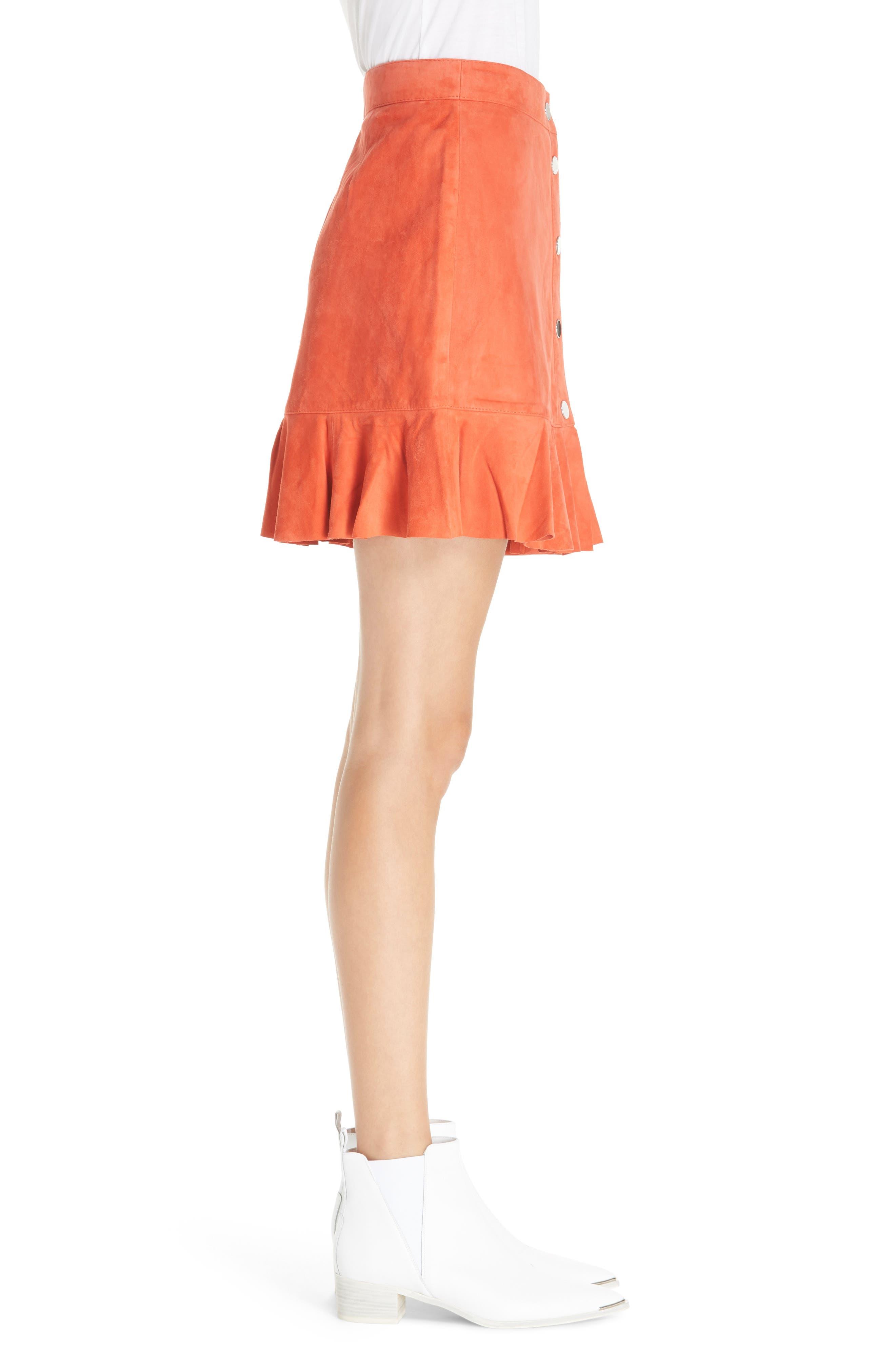 GANNI,                             Salvia Suede Skirt,                             Alternate thumbnail 3, color,                             800