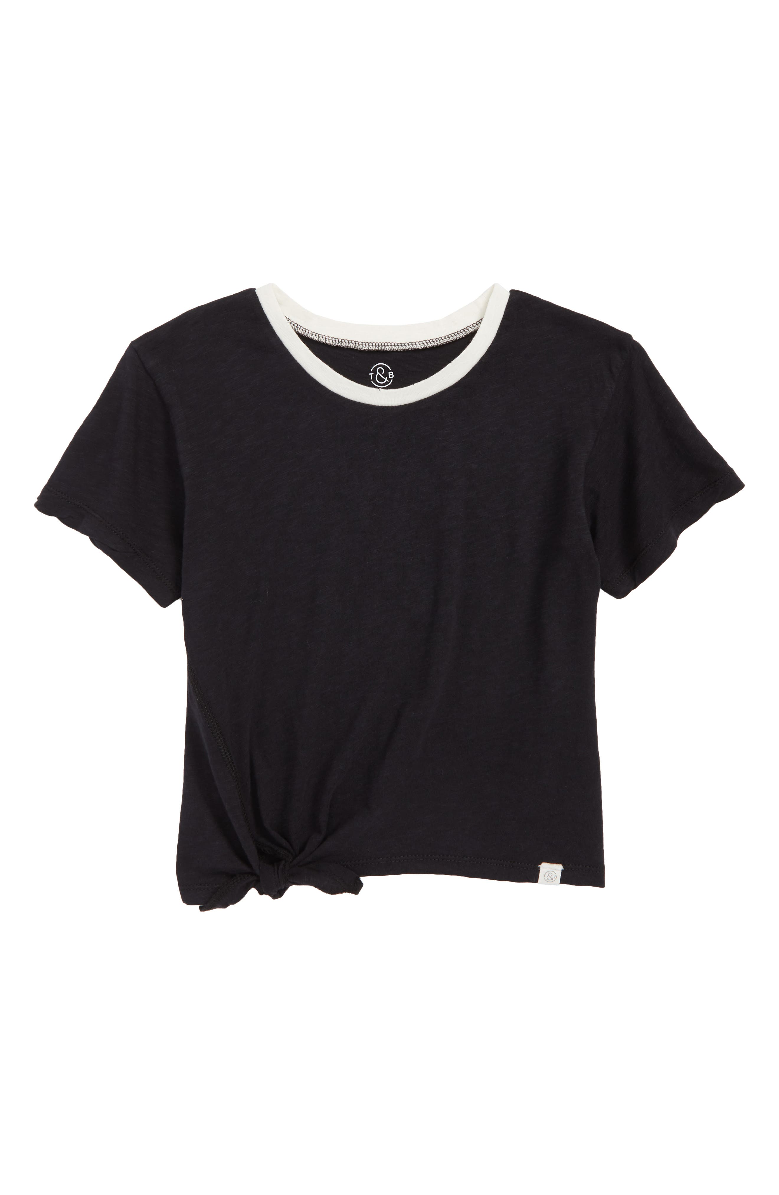 Knotted Ringer Tee,                         Main,                         color, 001