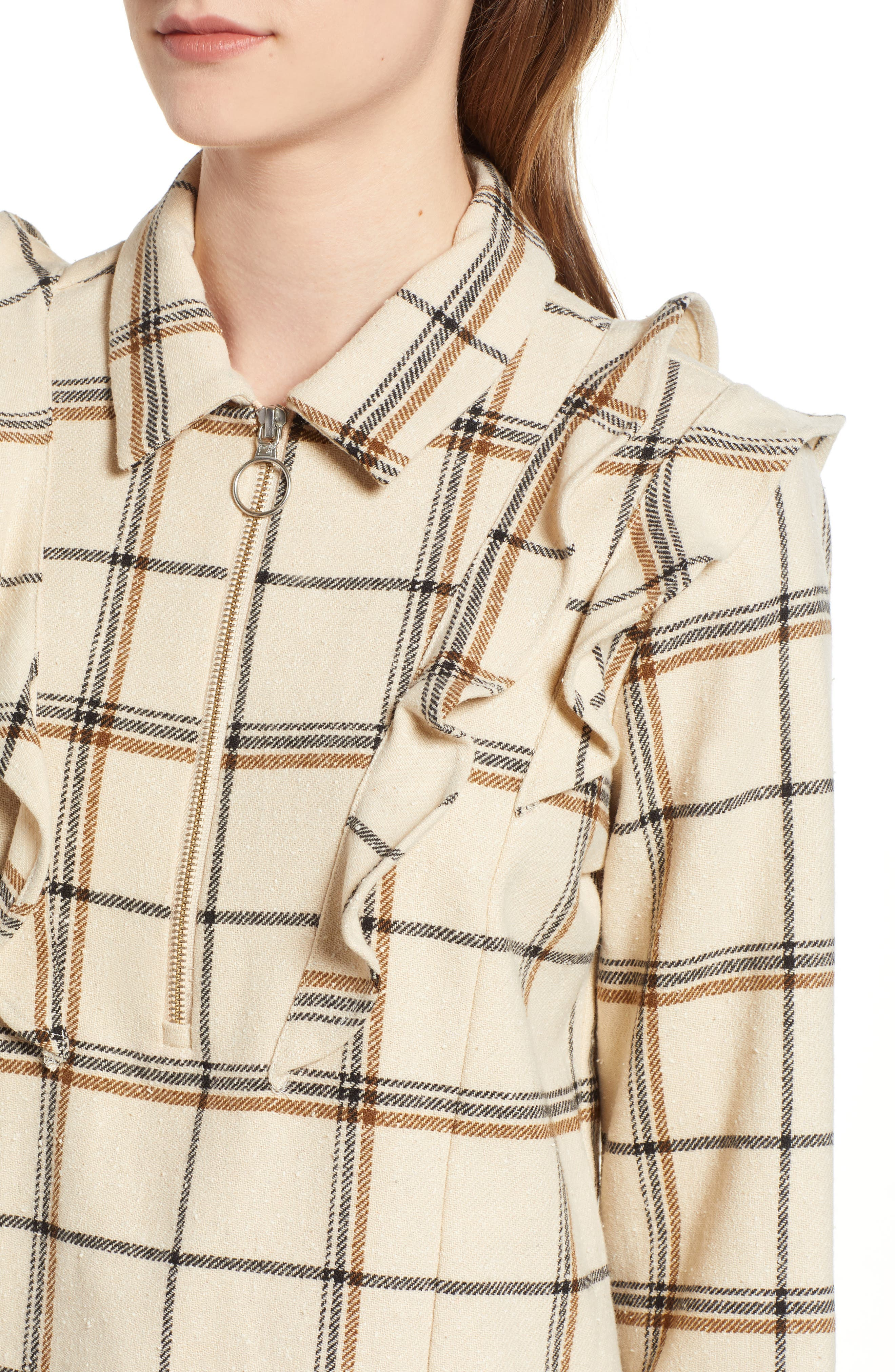 Check Print Top,                             Alternate thumbnail 4, color,                             CREAM WIDE CHECKED