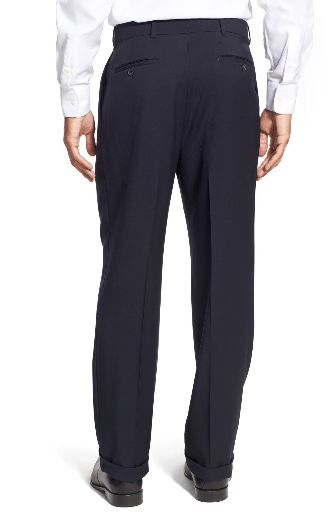 Pleated Solid Wool Trousers,                             Alternate thumbnail 25, color,