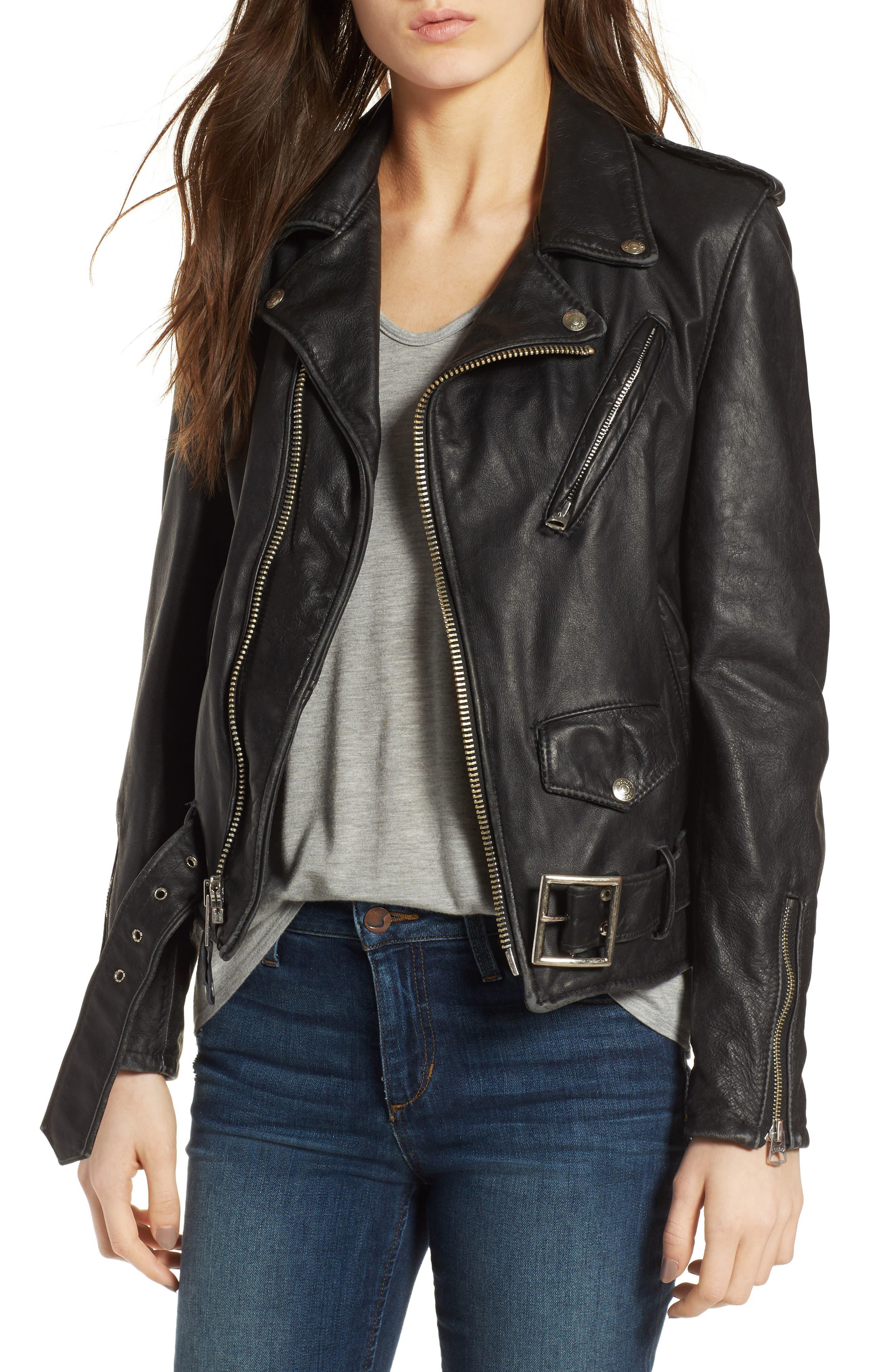 Boyfriend Leather Jacket,                         Main,                         color, BLACK