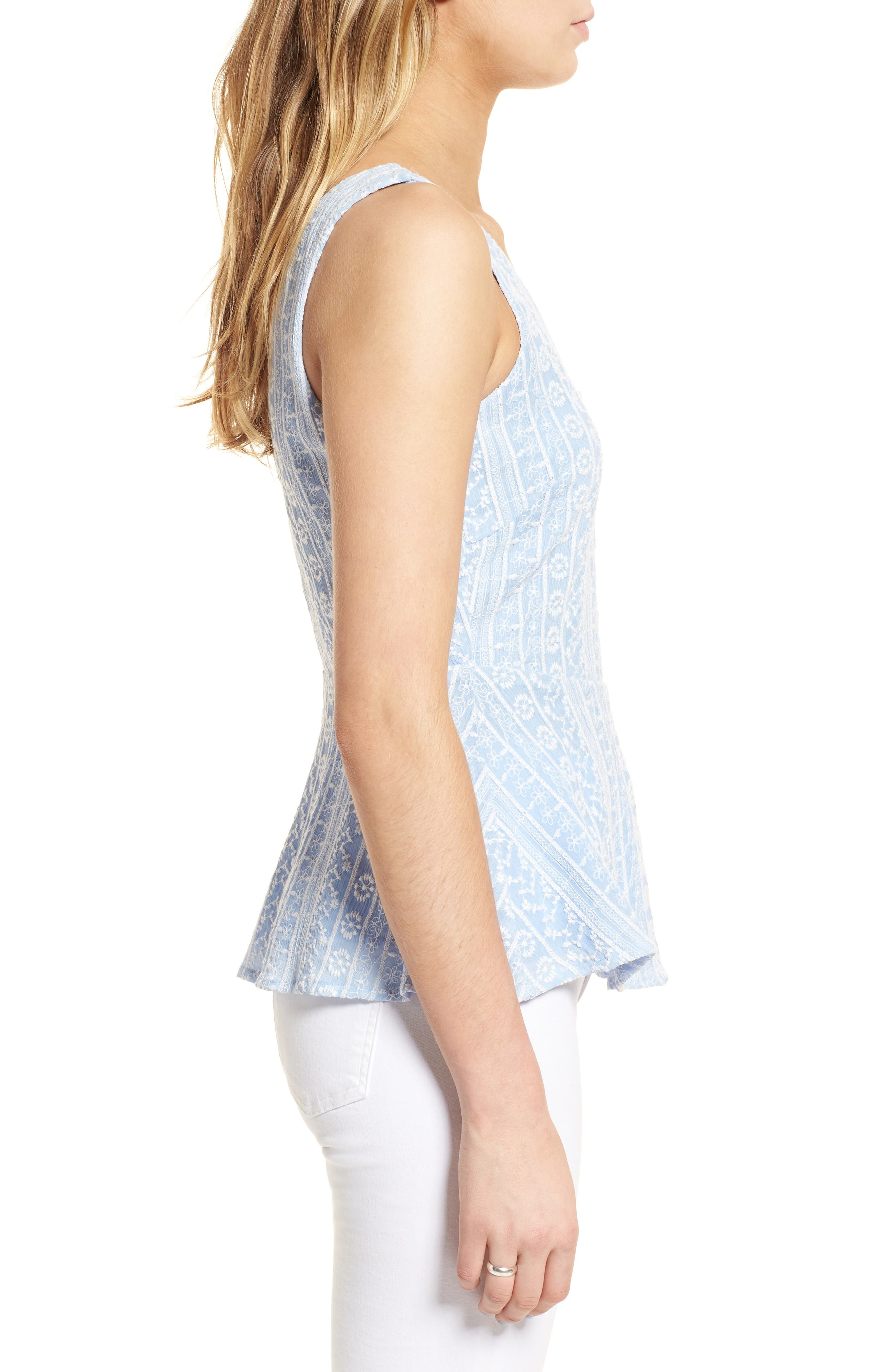 Brian Embroidered Peplum Tank,                             Alternate thumbnail 3, color,                             450
