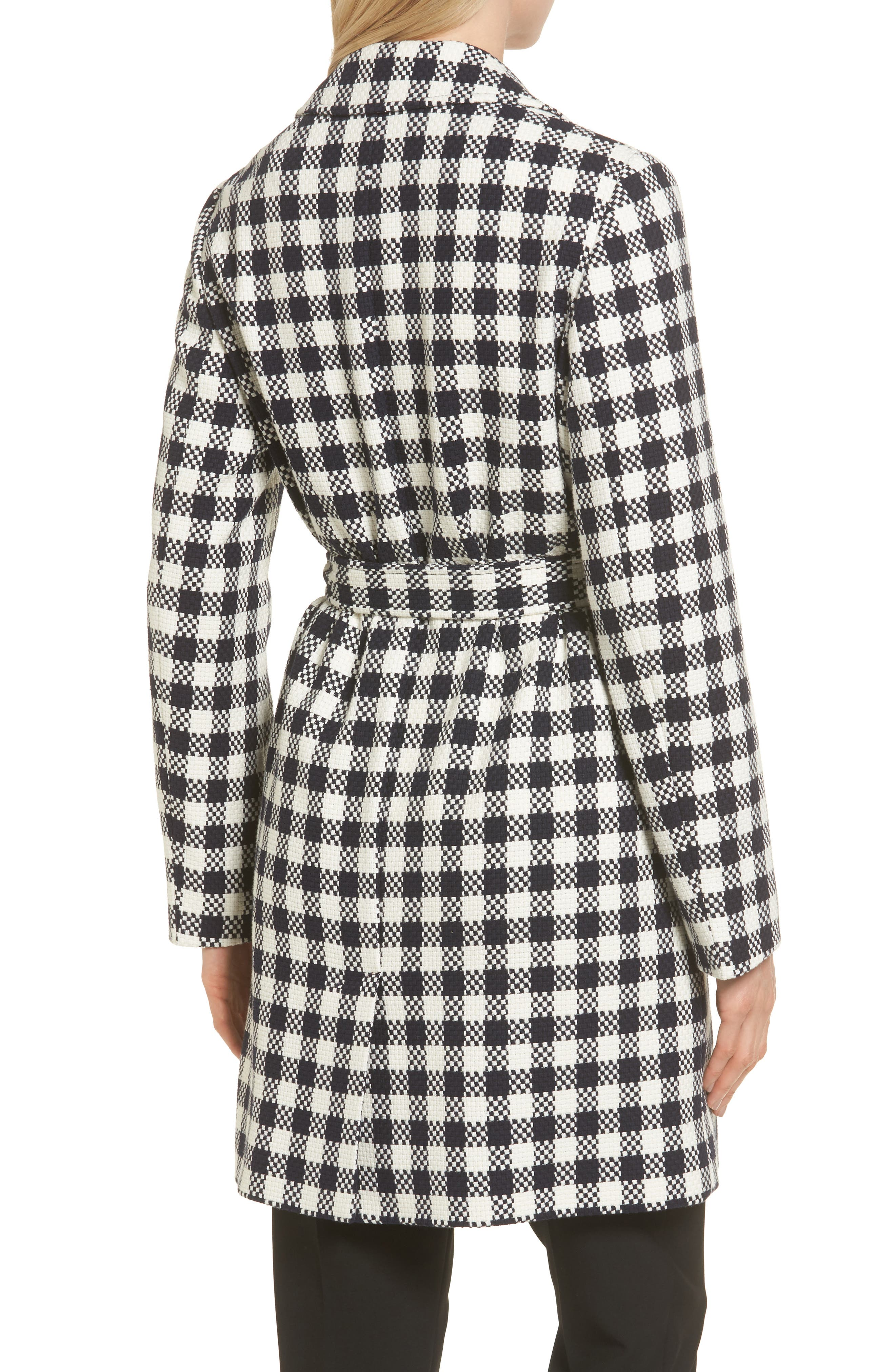Cumarina Check Belted Check Coat,                             Alternate thumbnail 2, color,                             461