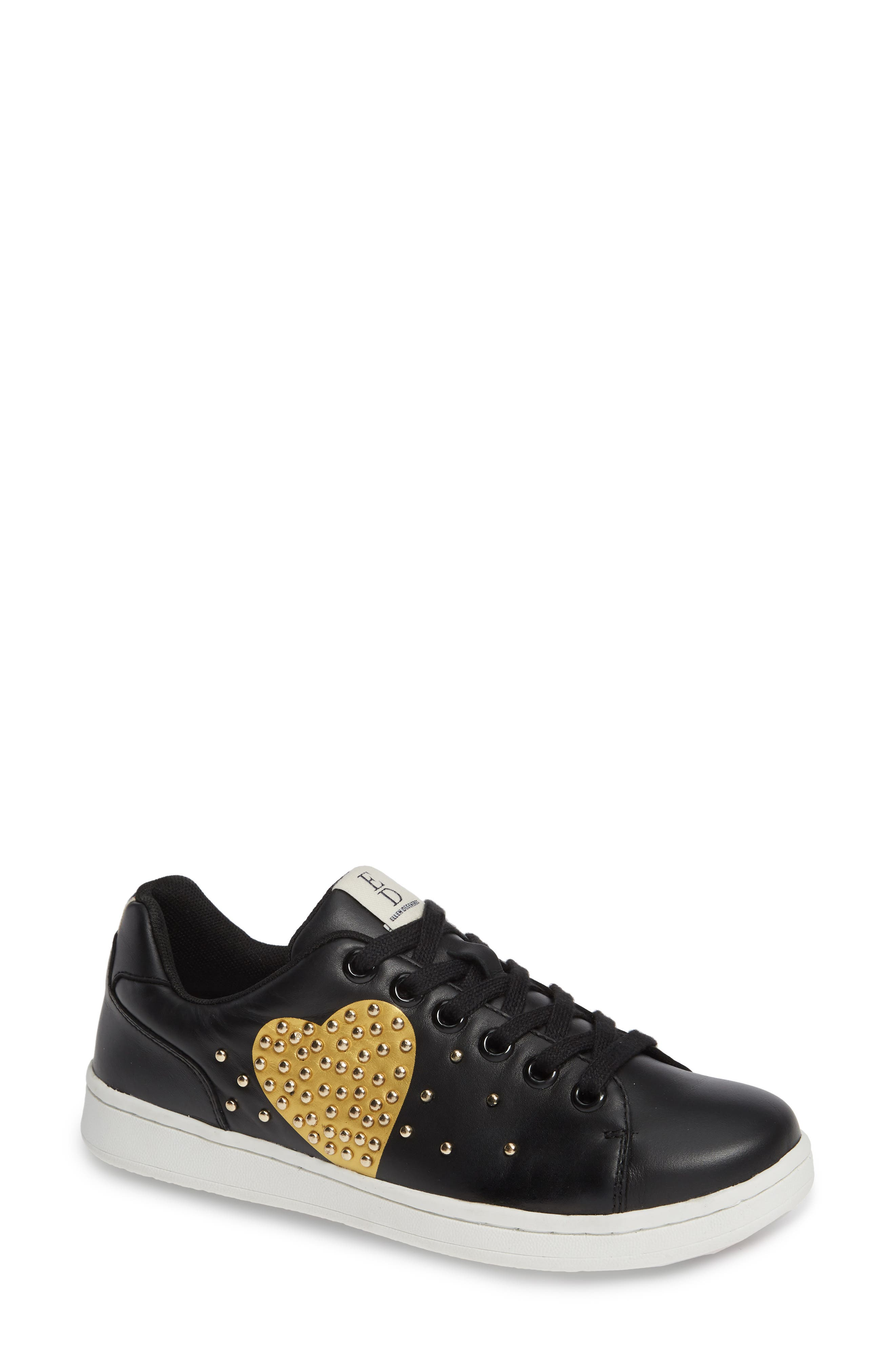Chamour Sneaker,                         Main,                         color, BLACK/ GOLD LEATHER