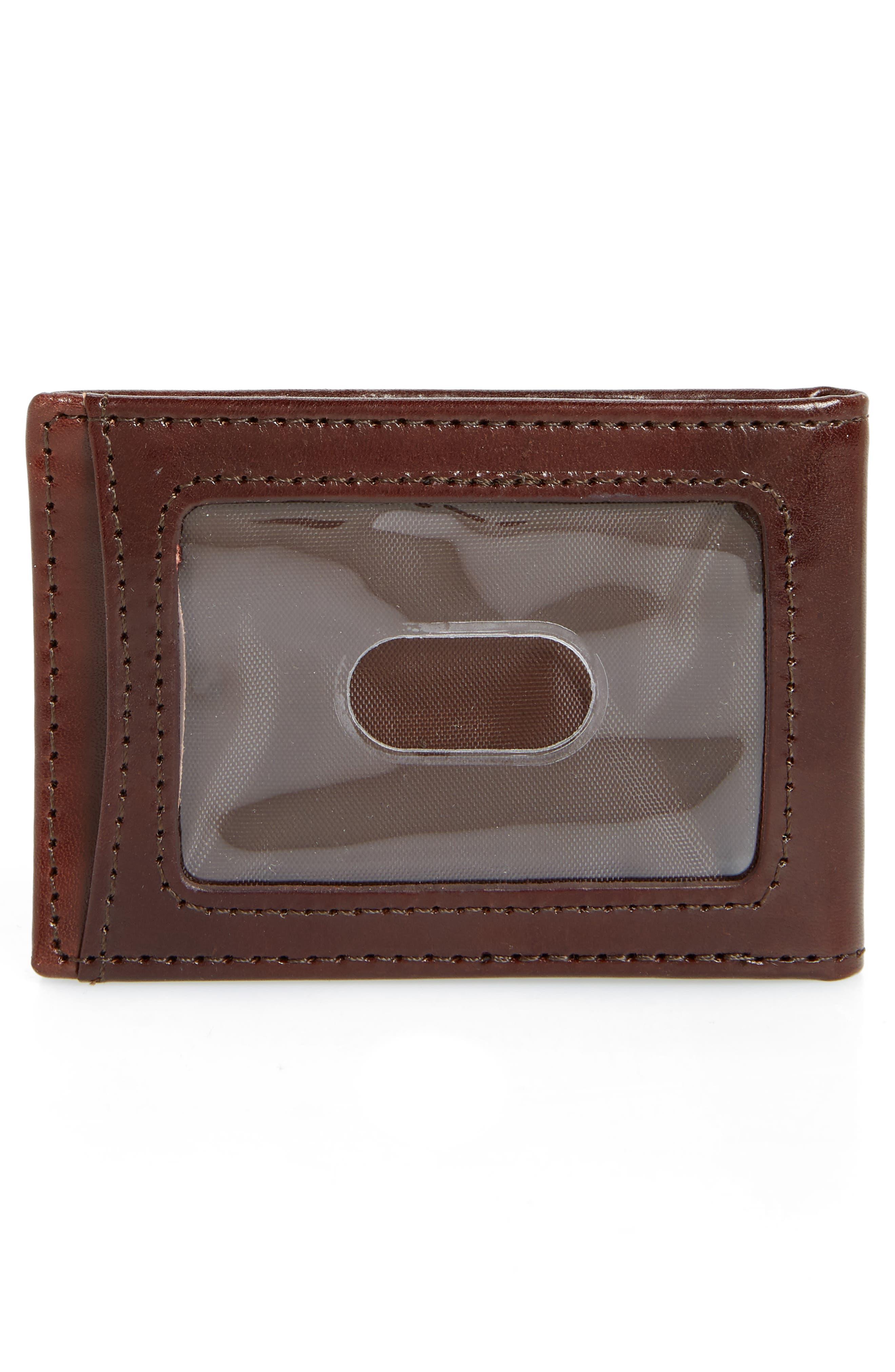 Leather Money Clip Wallet,                             Alternate thumbnail 2, color,                             BROWN