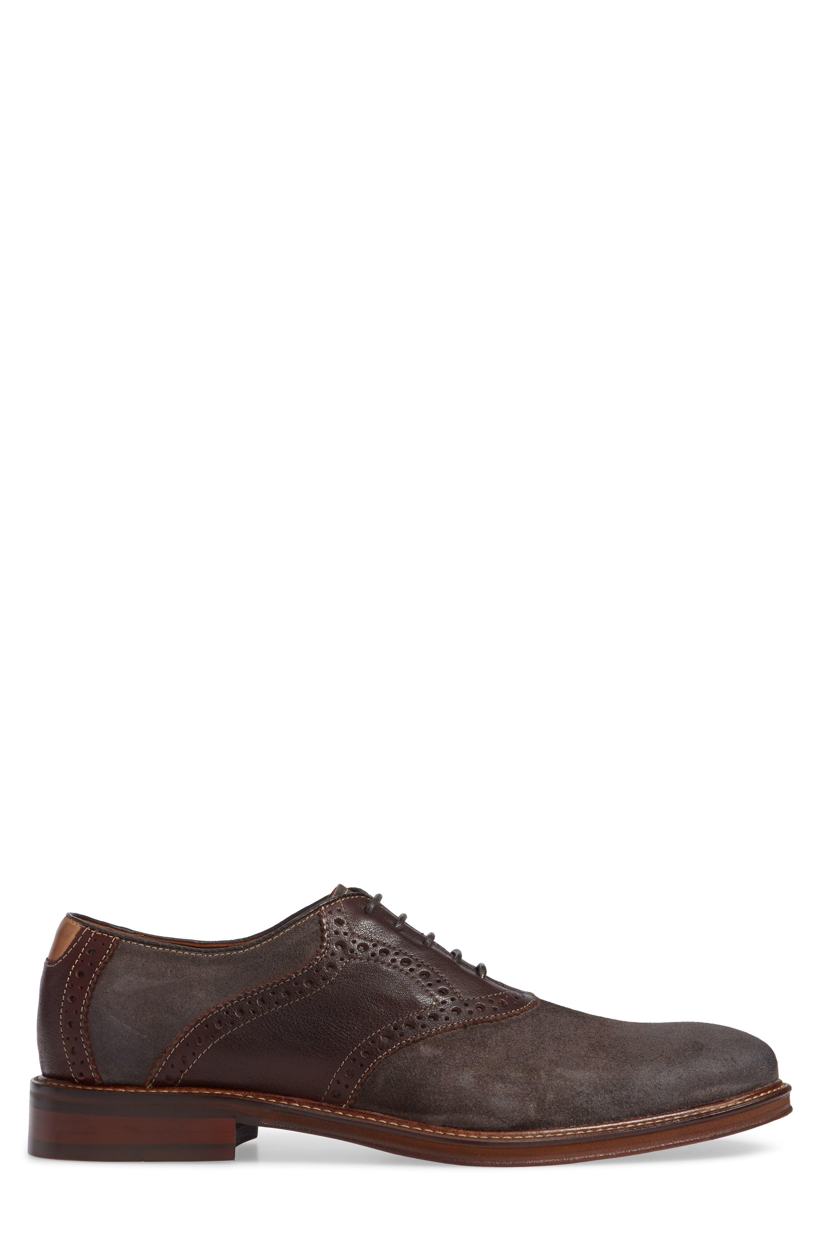 Warner Saddle Shoe,                             Alternate thumbnail 3, color,                             DARK GREY SUEDE