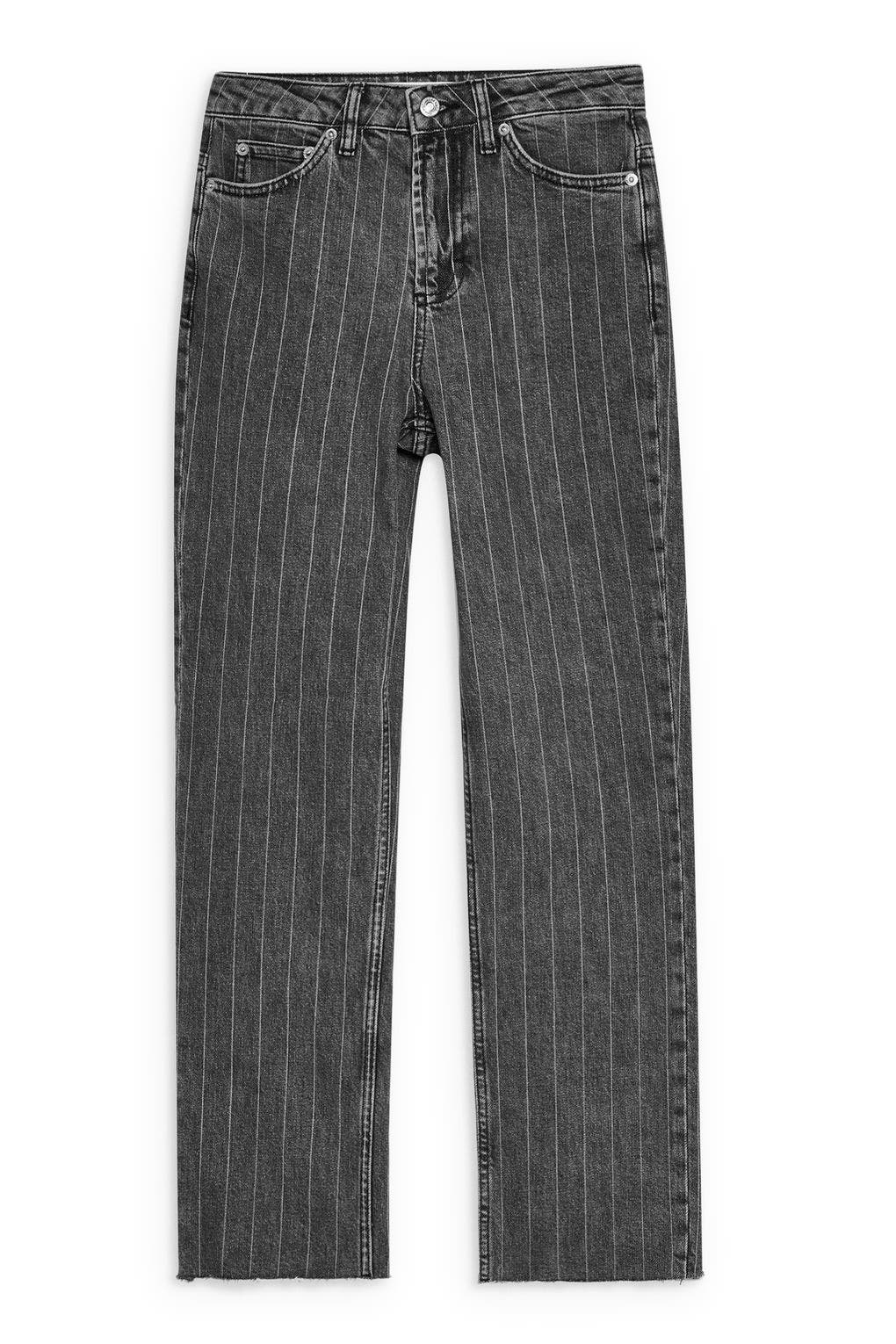 High Waist Pinstripe Jeans,                             Alternate thumbnail 4, color,                             WASHED BLACK