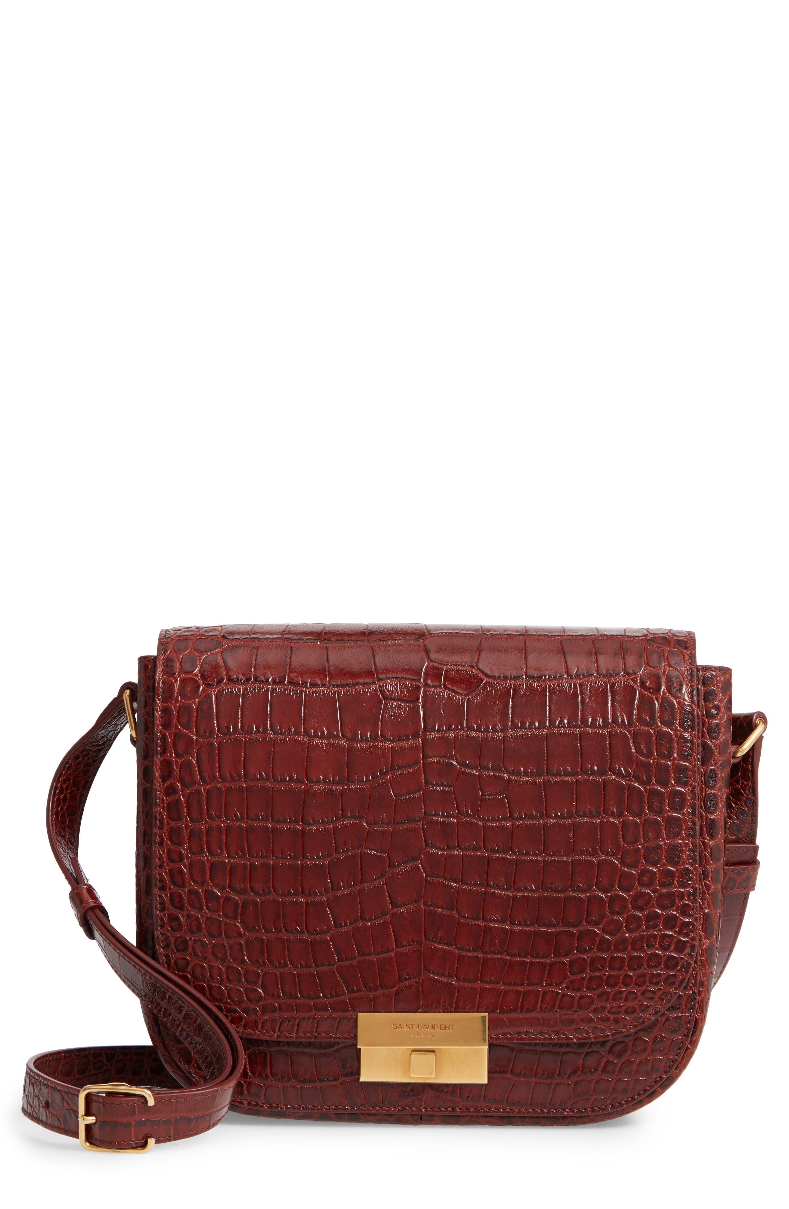 Betty Croc Embossed Leather Shoulder Bag,                         Main,                         color, DARK BLOOD