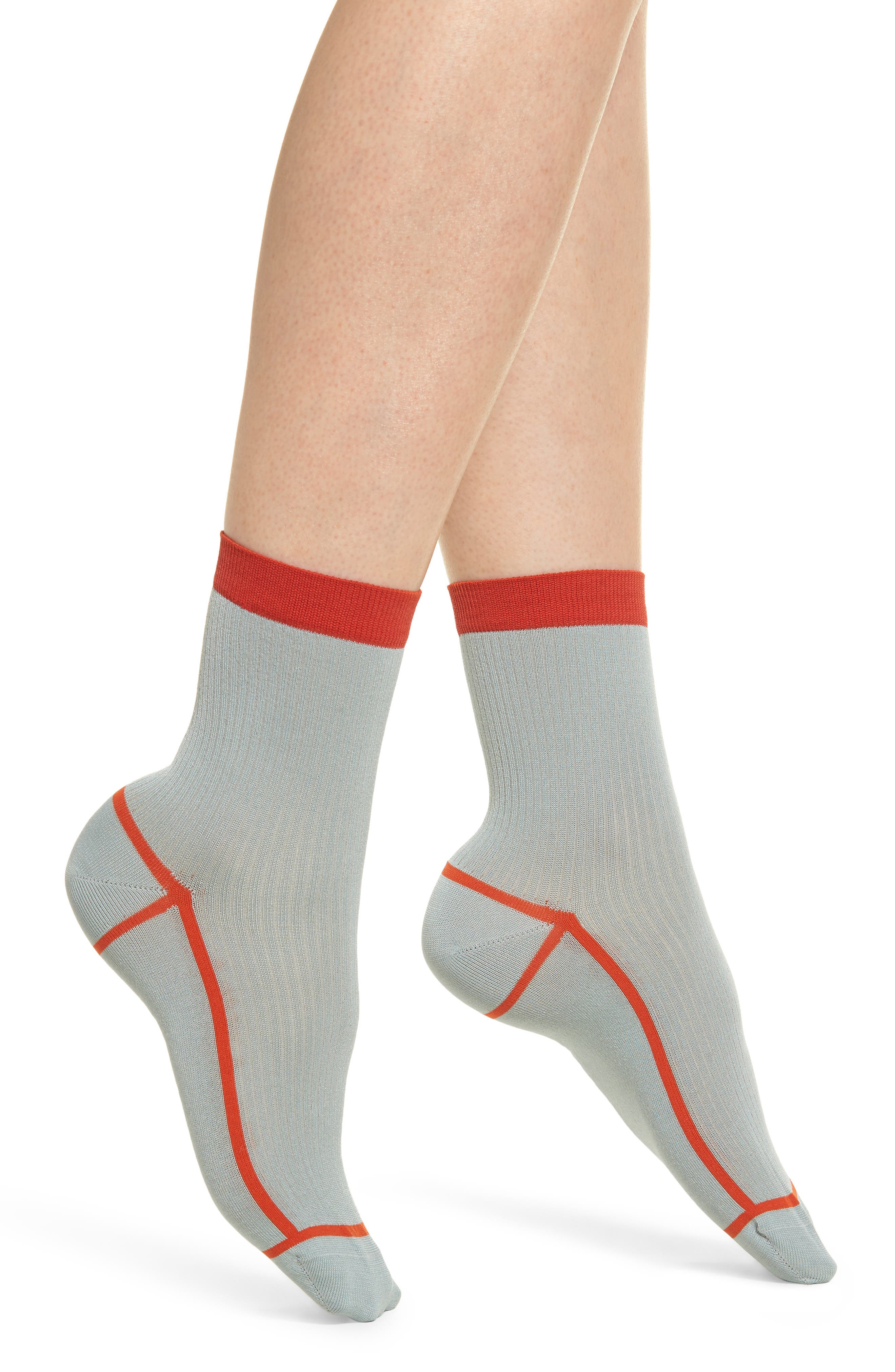 HAPPY SOCKS Hysteria Lily Ribbed Ankle Socks in Light Blue Pastel