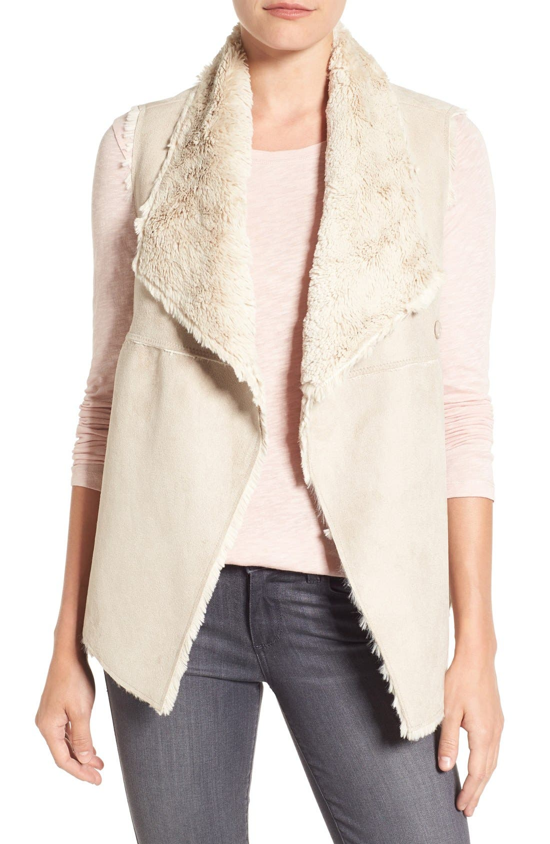 DYLAN,                             'Madison' Faux Shearling Vest,                             Main thumbnail 1, color,                             256