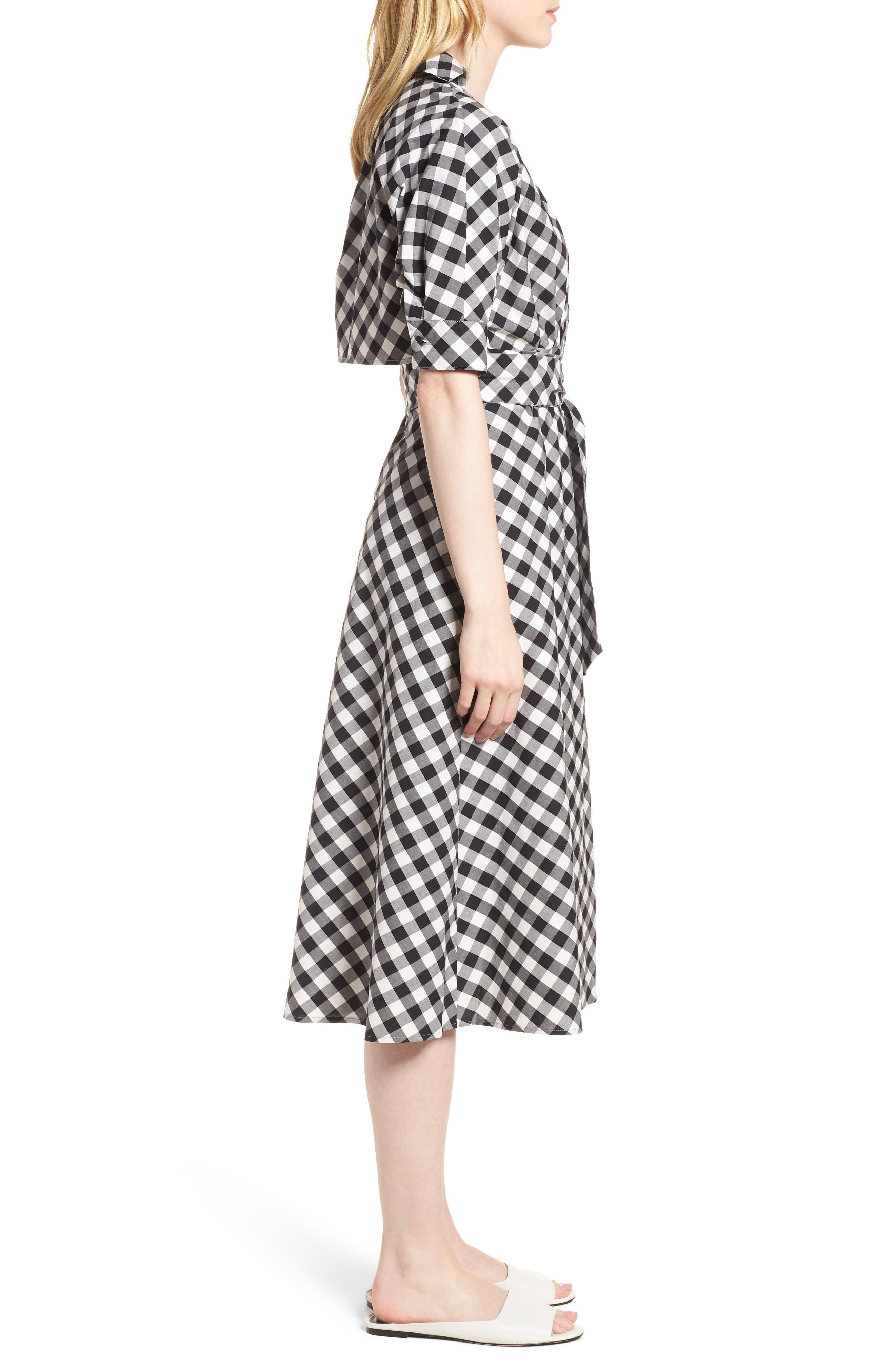 Gingham Wrap Midi Dress,                             Alternate thumbnail 3, color,                             003