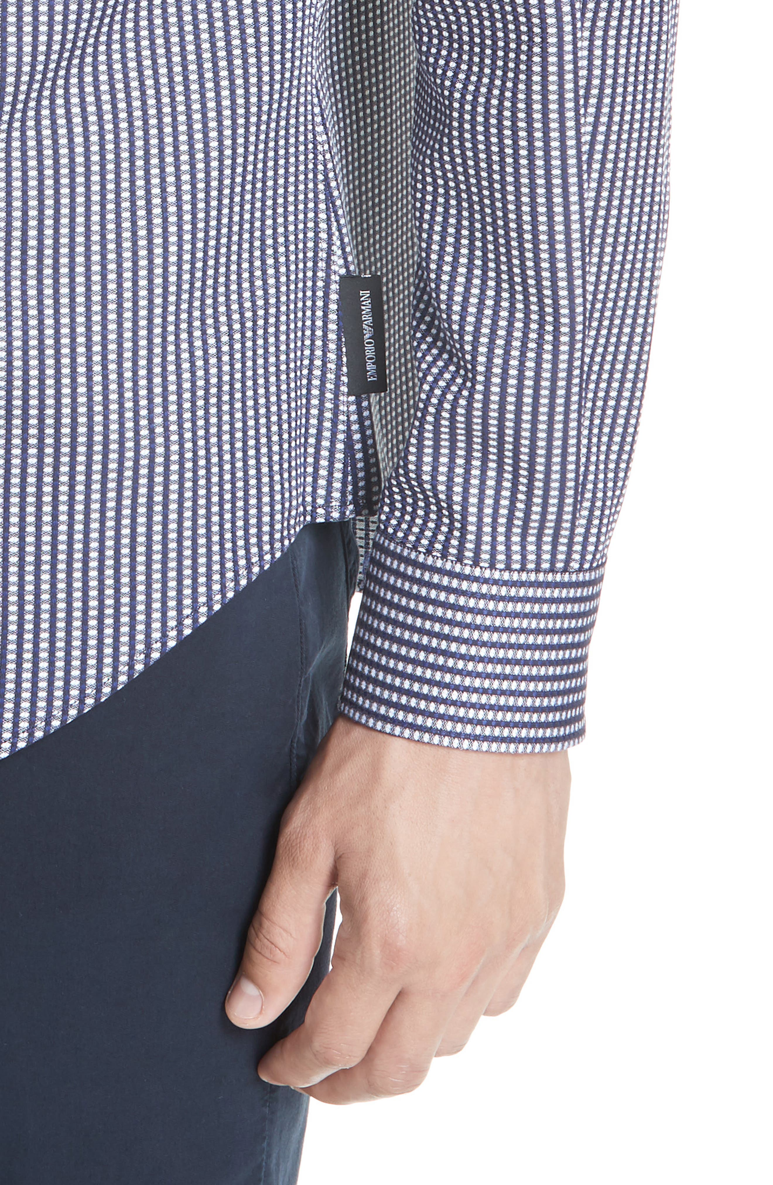 Regular Fit Solid Sport Shirt,                             Alternate thumbnail 4, color,                             BLUE MULTI