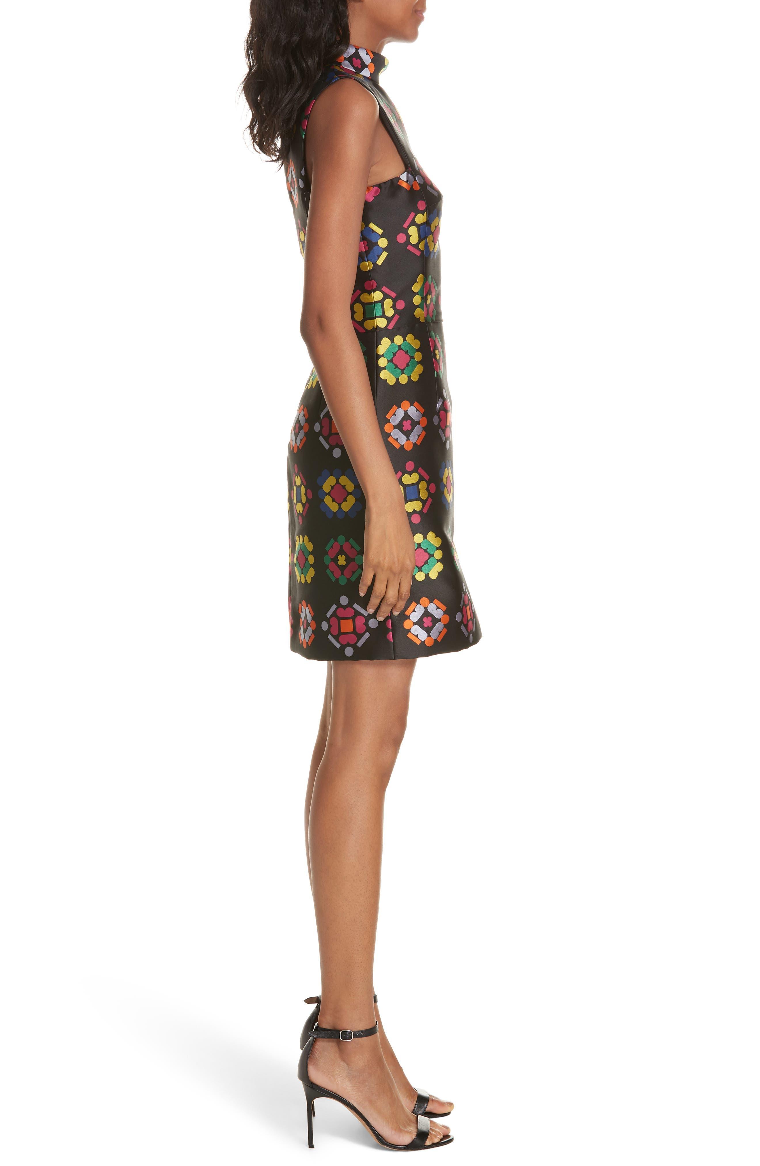 Melinda Geometric Jacquard Sheath Dress,                             Alternate thumbnail 3, color,                             001
