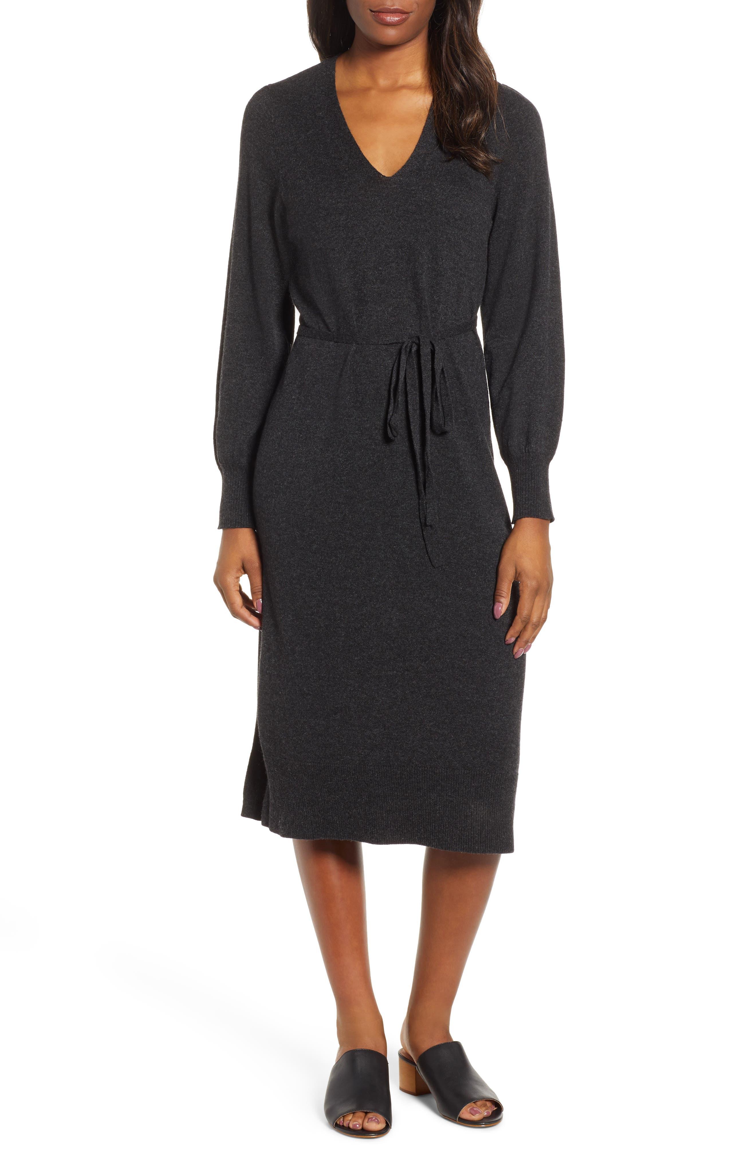 Lucky Brand V-Neck Sweater Dress, Grey
