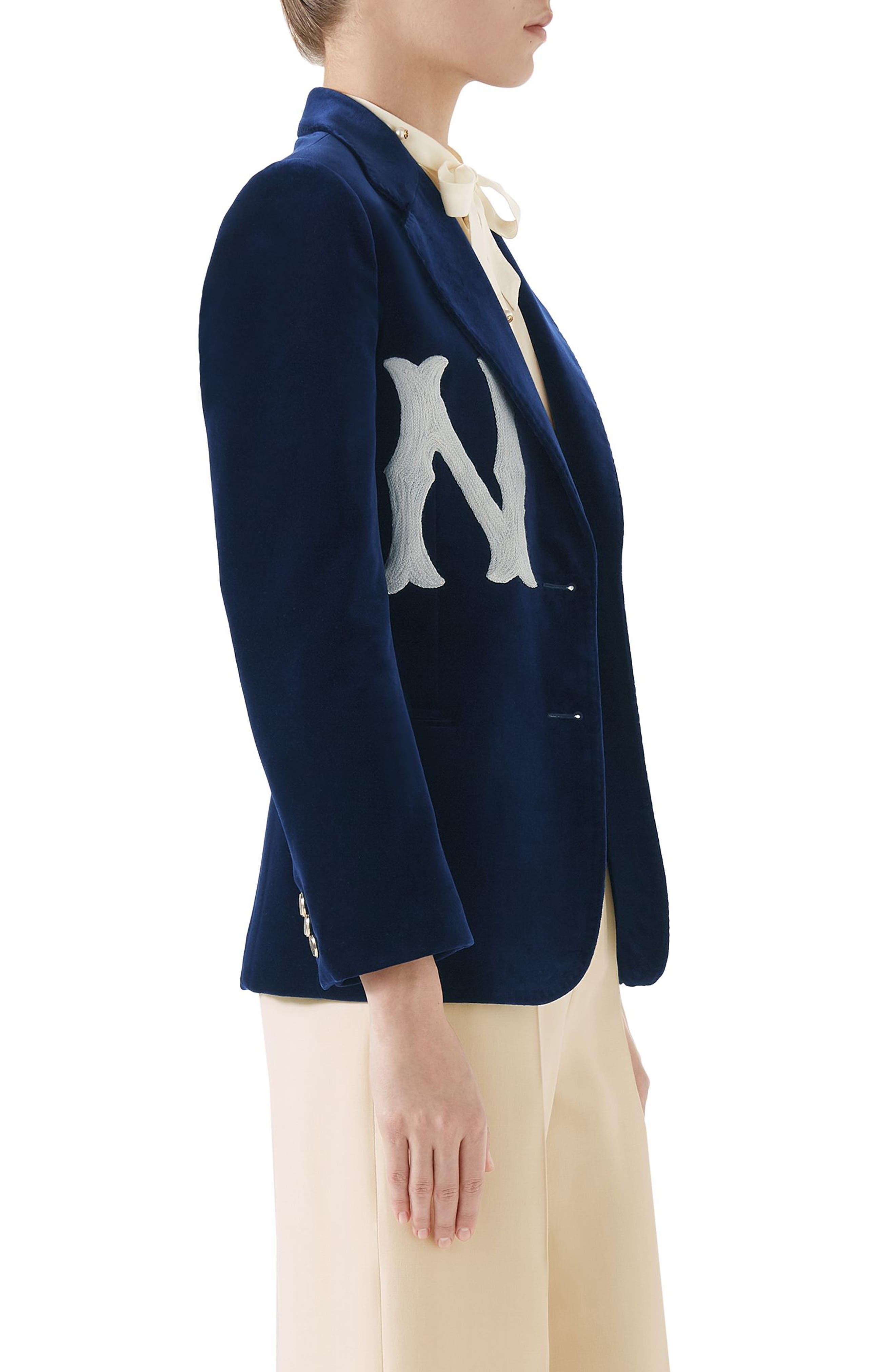 NY Patch Velvet Jacket,                             Alternate thumbnail 3, color,                             BLUE