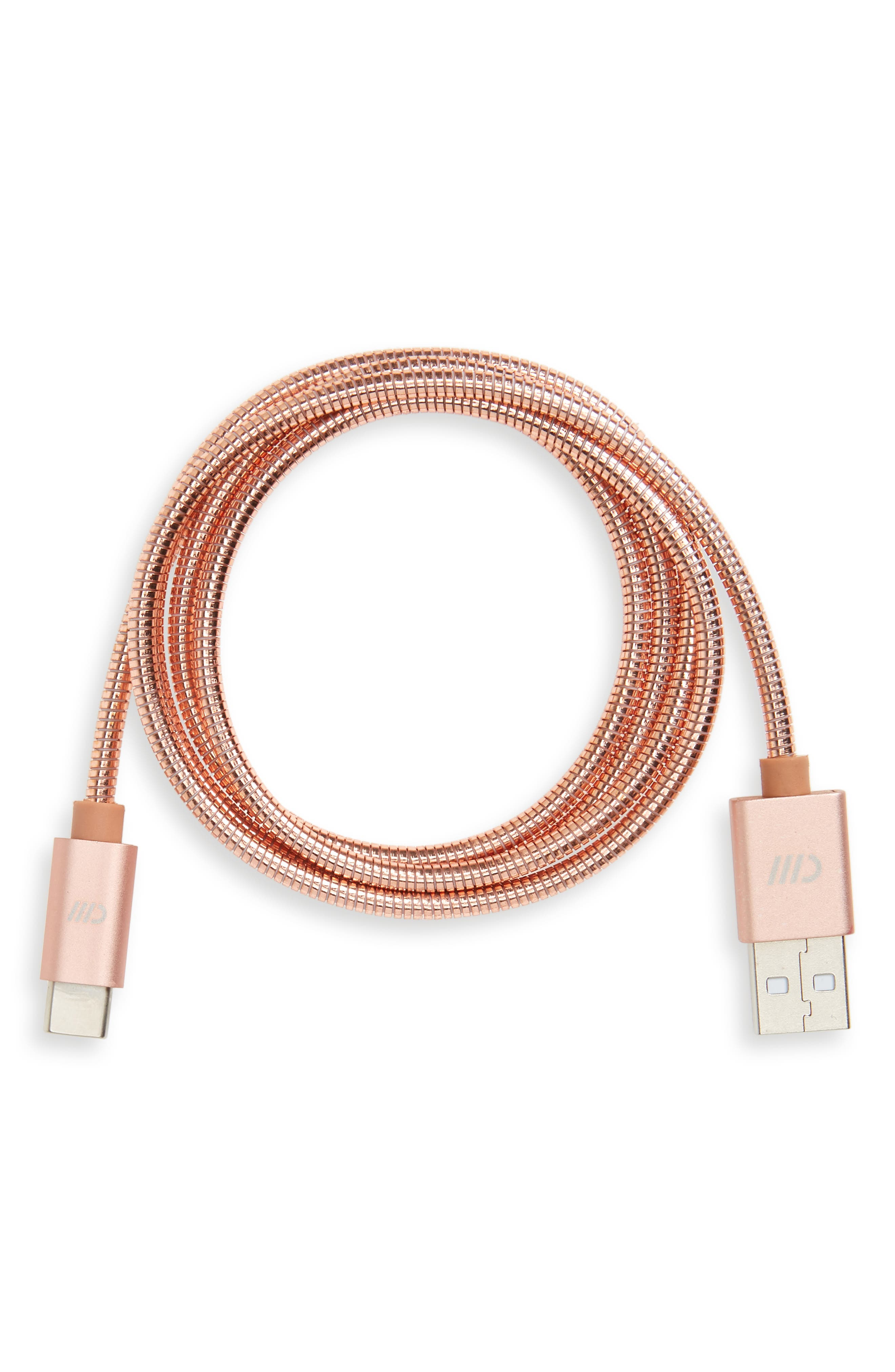 3-Foot USB-C to USB Stainless Steel Charging Cable,                             Main thumbnail 1, color,                             650
