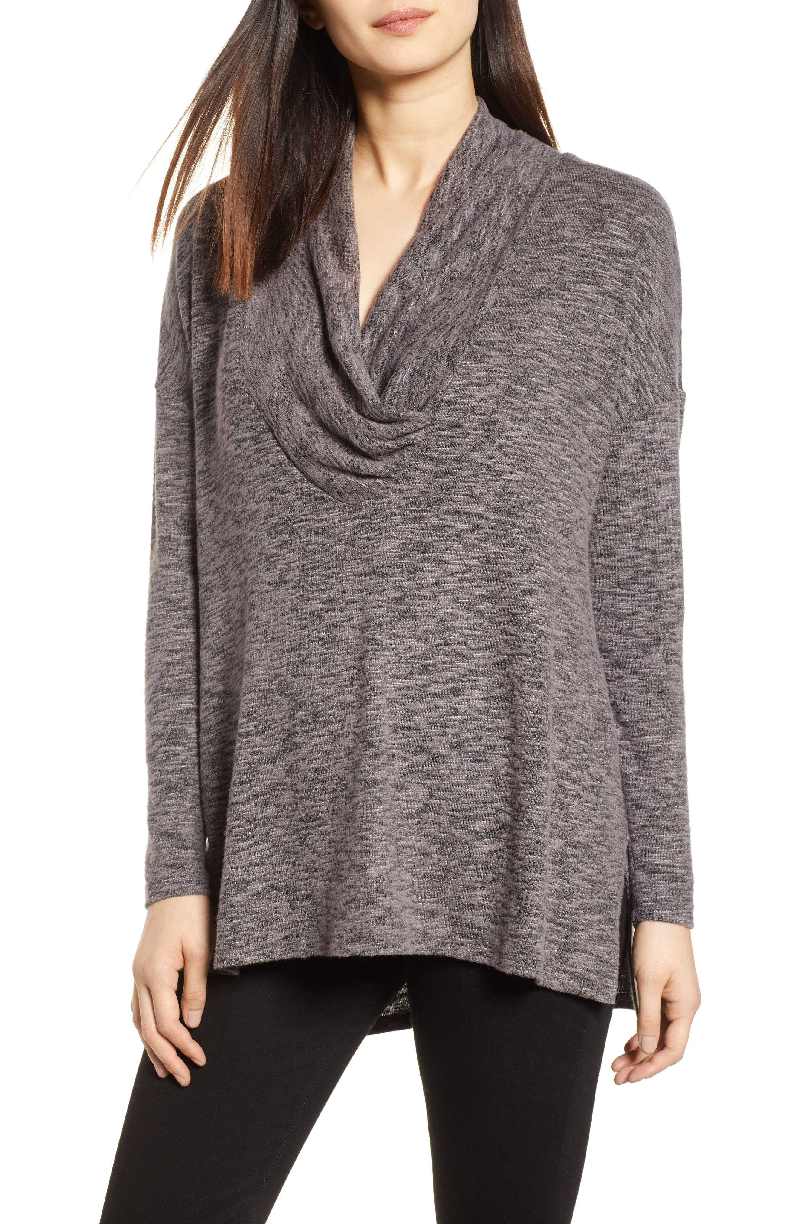 Cowl Neck Tunic Top,                         Main,                         color, CHARCOAL