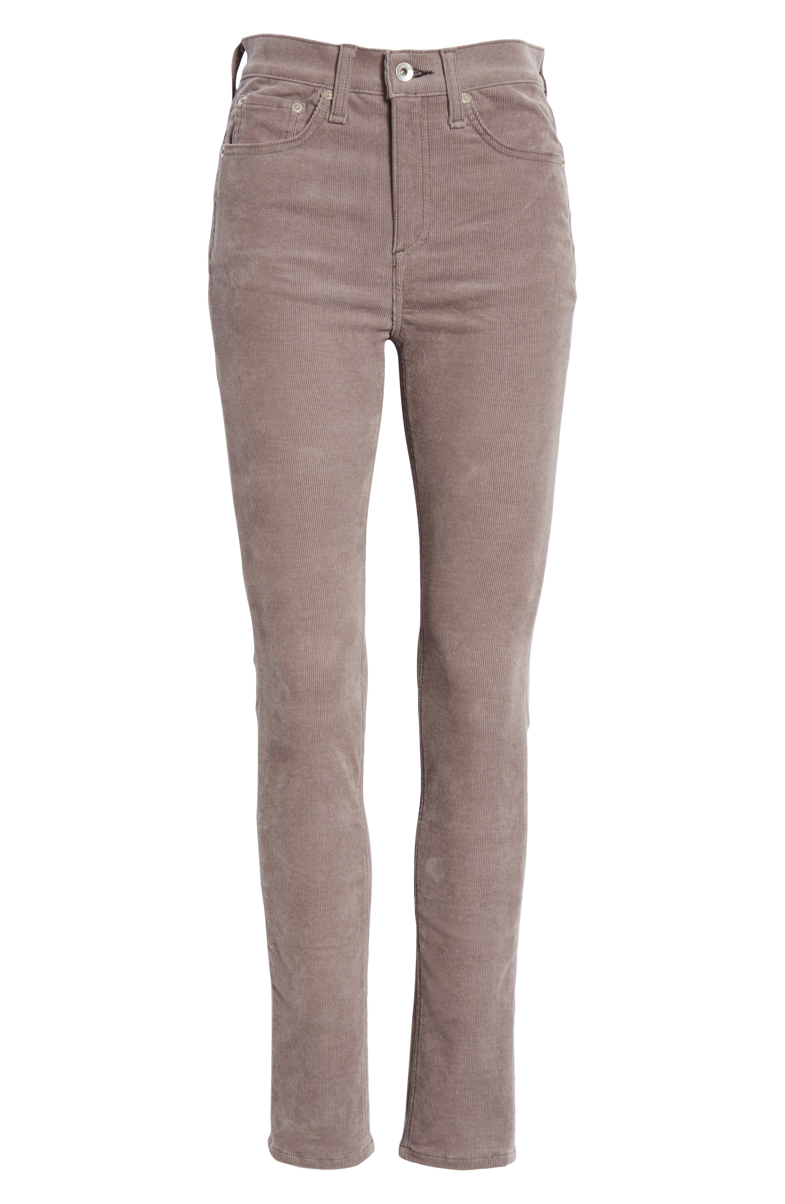 rag & bone High Waist Ankle Skinny Corduroy Pants,                             Alternate thumbnail 7, color,                             021