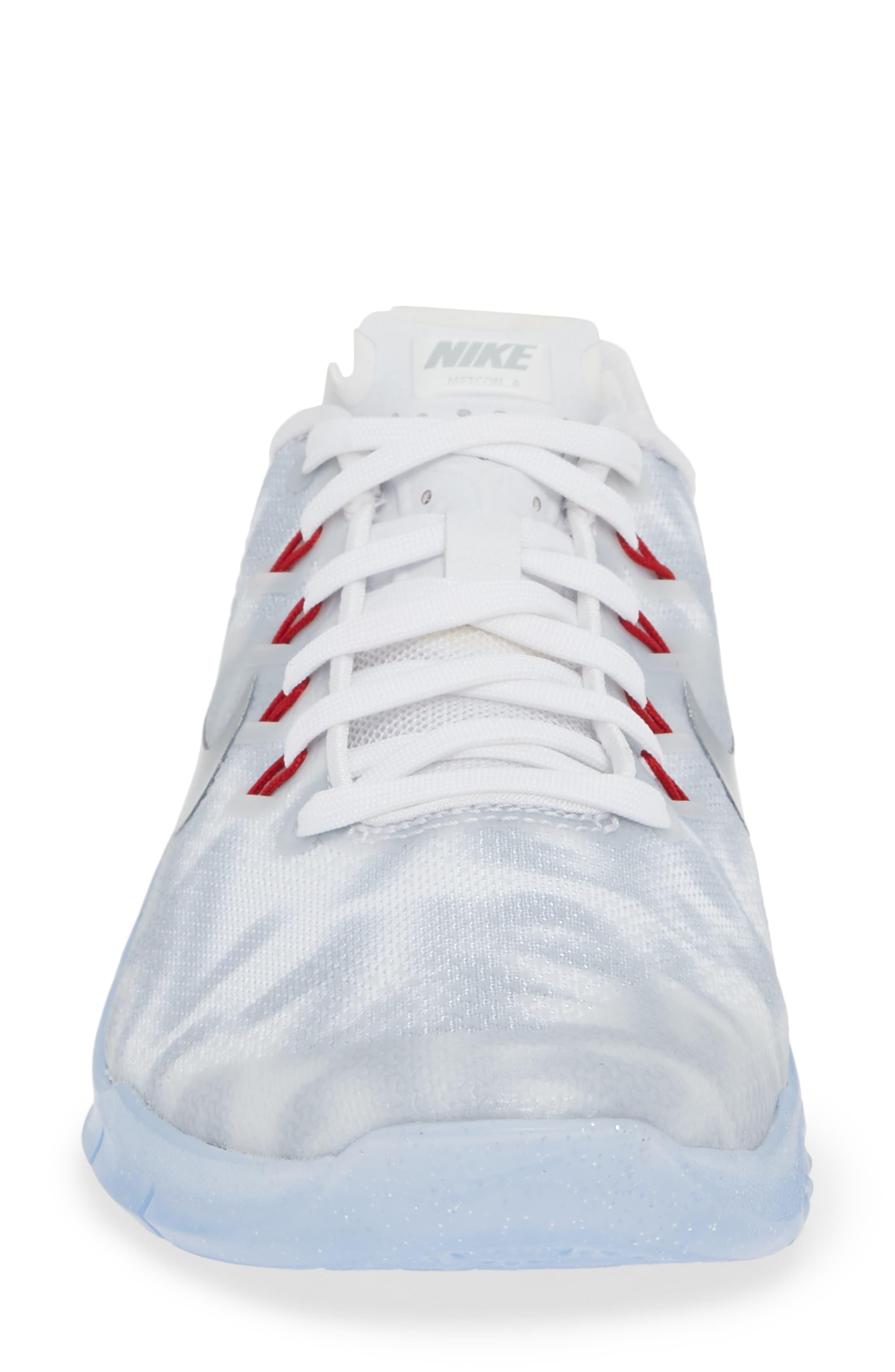 Metcon 4 Training Shoe,                             Alternate thumbnail 4, color,                             WHITE METALLIC SILVER/ GYM RED