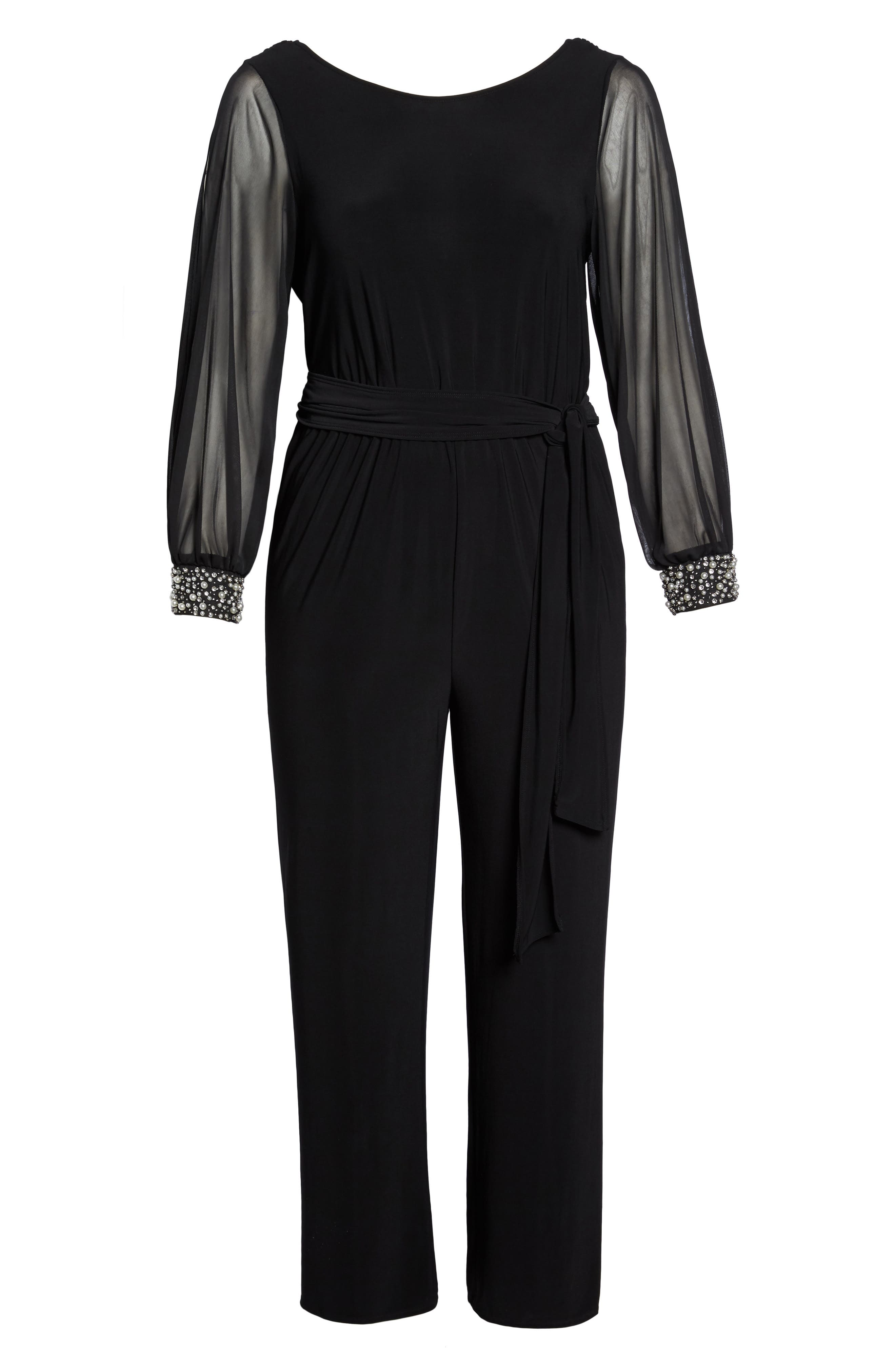 Embellished Cowl Back Jumpsuit,                             Alternate thumbnail 6, color,                             001
