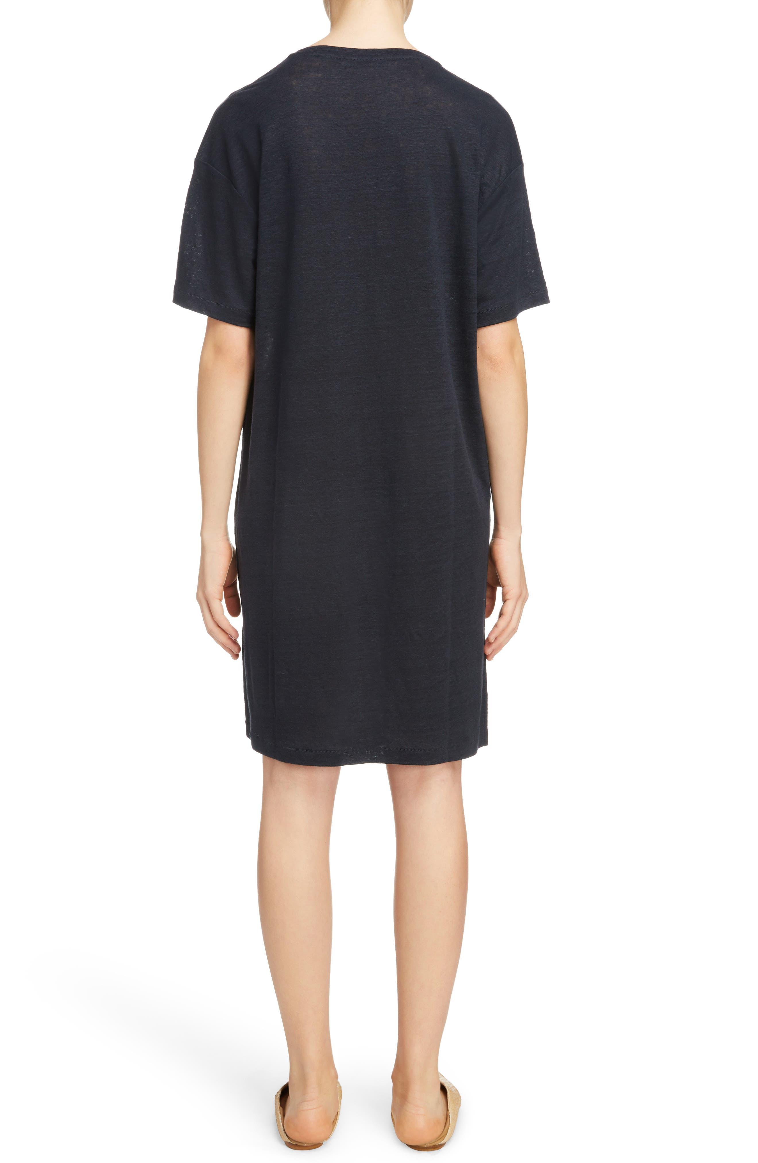 Saga Linen T-Shirt Dress,                             Alternate thumbnail 2, color,                             001