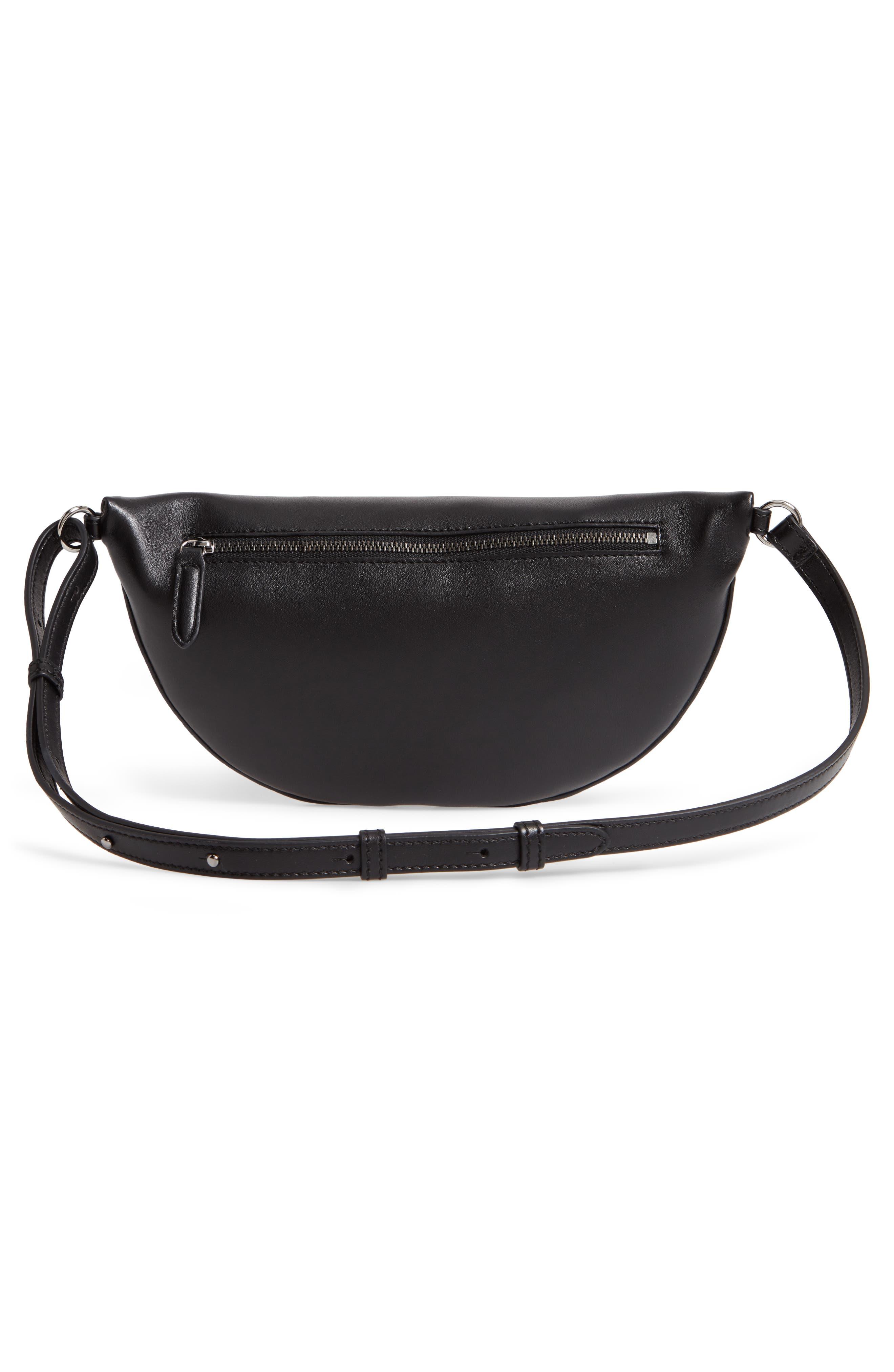 Chain Trim Bum Bag,                             Alternate thumbnail 4, color,                             BLACK