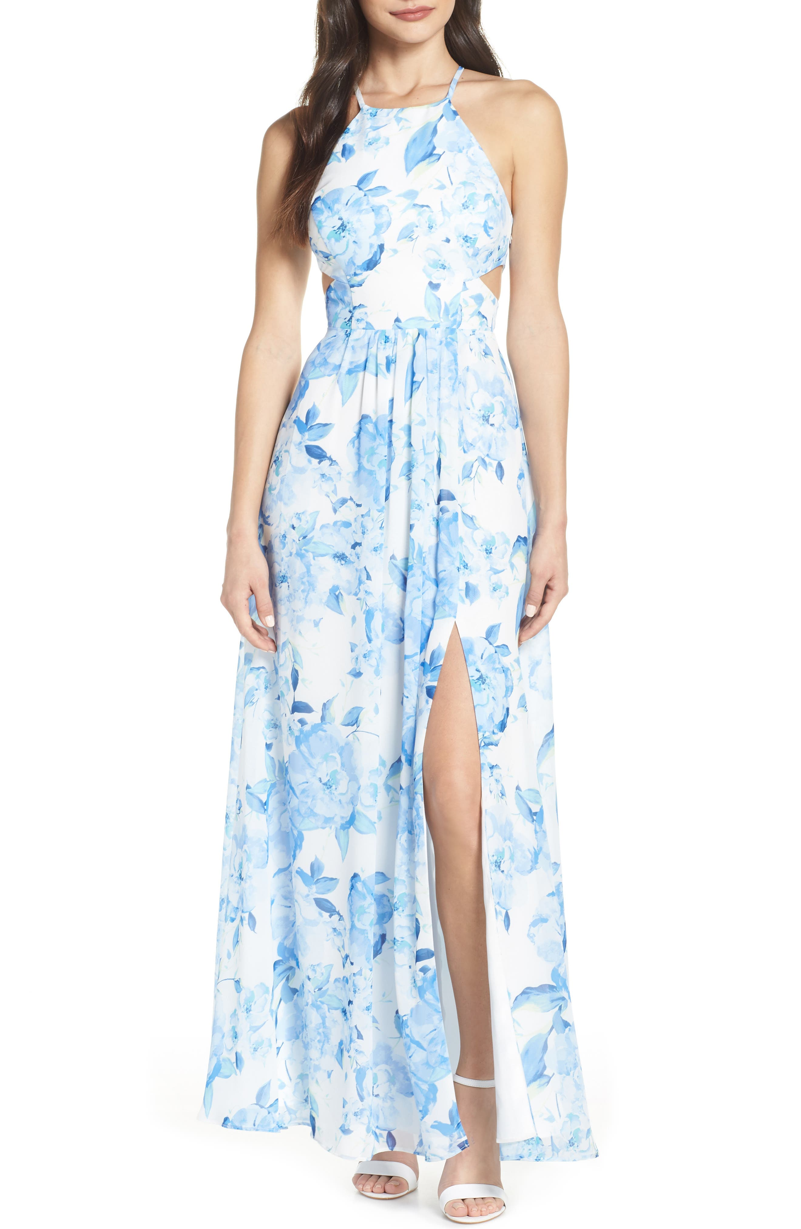 MORGAN & CO.,                             Floral Print Strappy Back Evening Dress,                             Main thumbnail 1, color,                             WHITE/ MULTI
