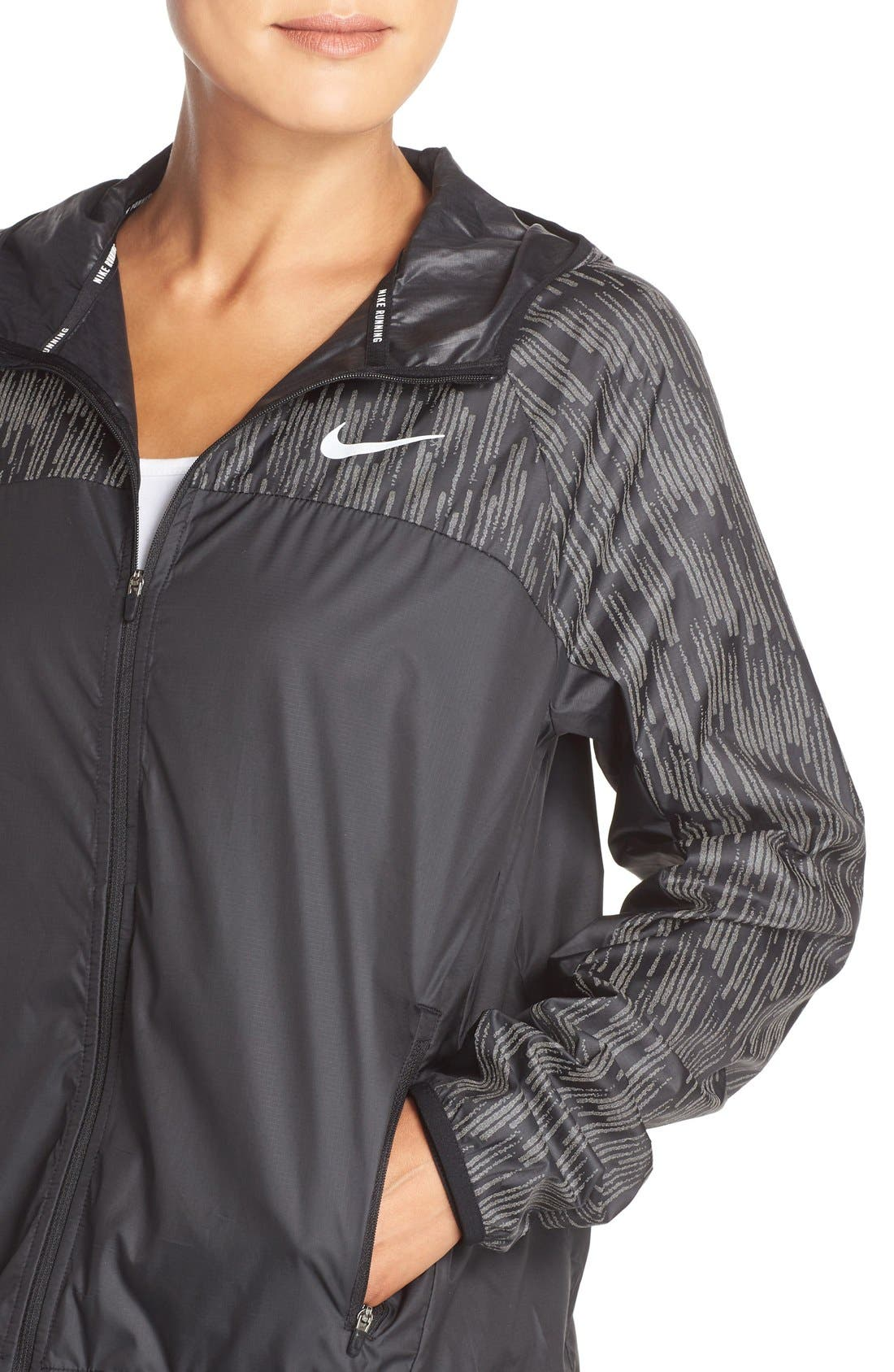 NIKE,                             Shield Flash Running Jacket,                             Alternate thumbnail 4, color,                             010
