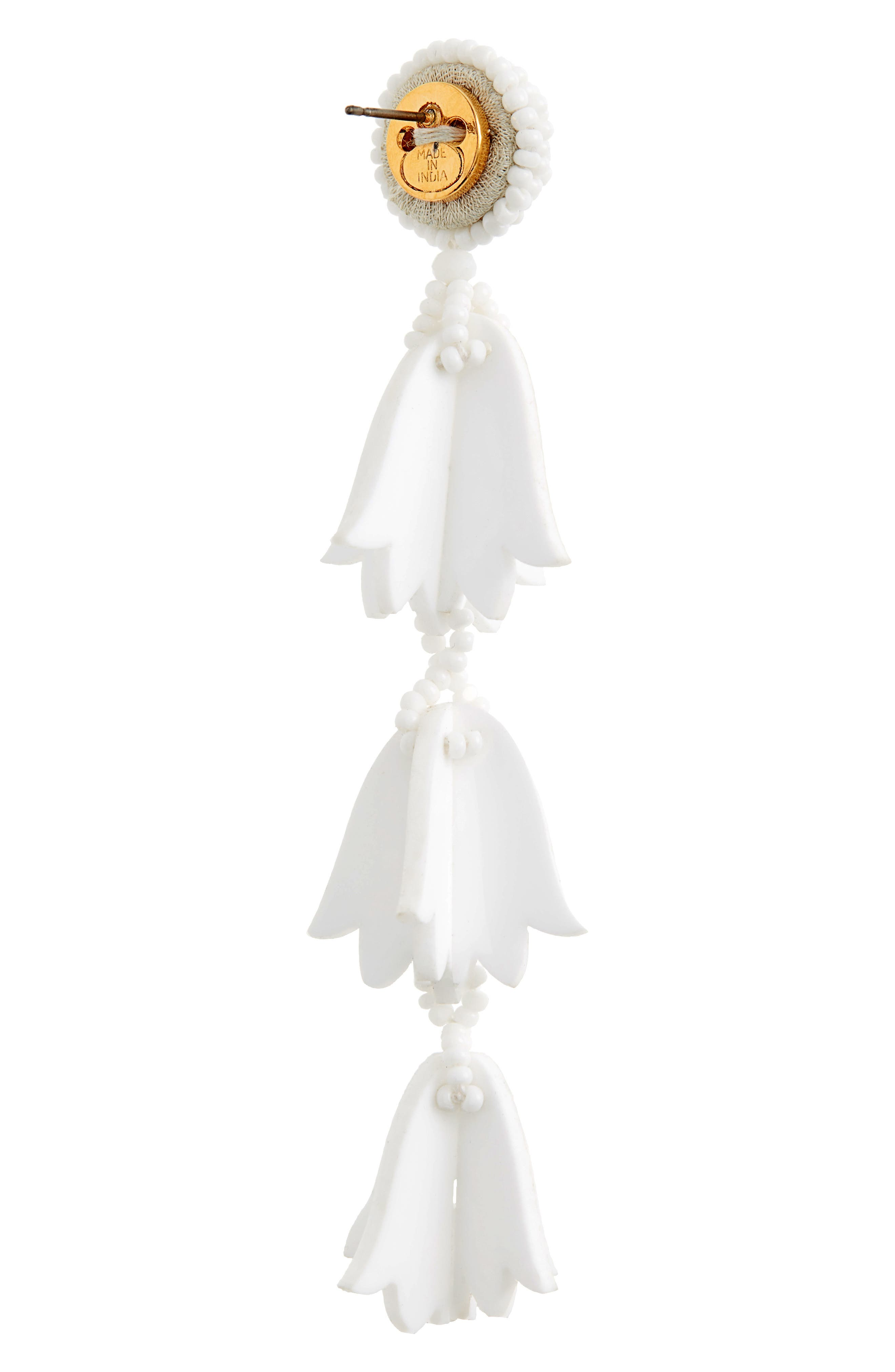 Runway Bellflower Drop Earrings,                             Alternate thumbnail 3, color,                             WHITE