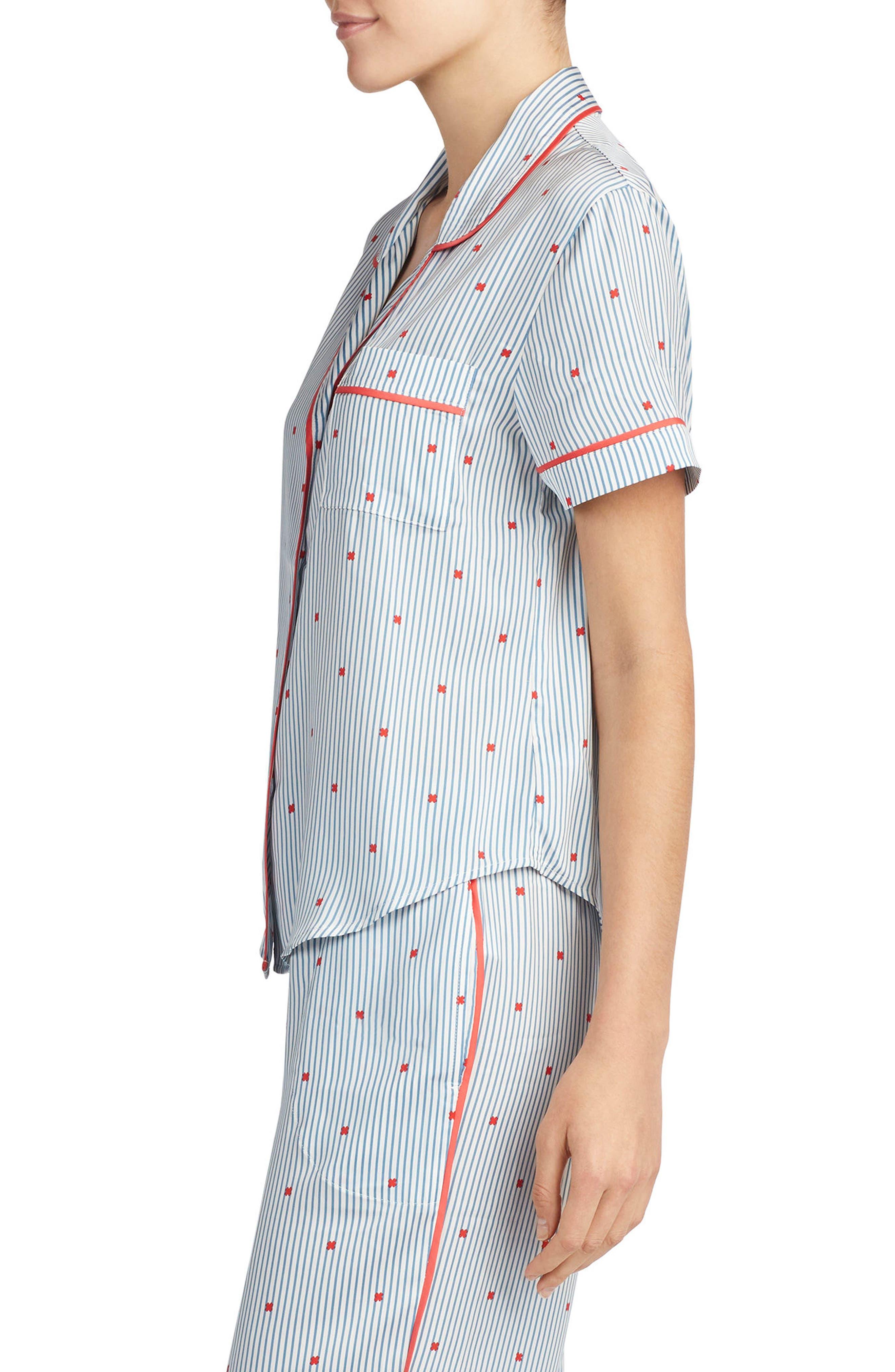 Satin Pajama Top,                             Alternate thumbnail 11, color,