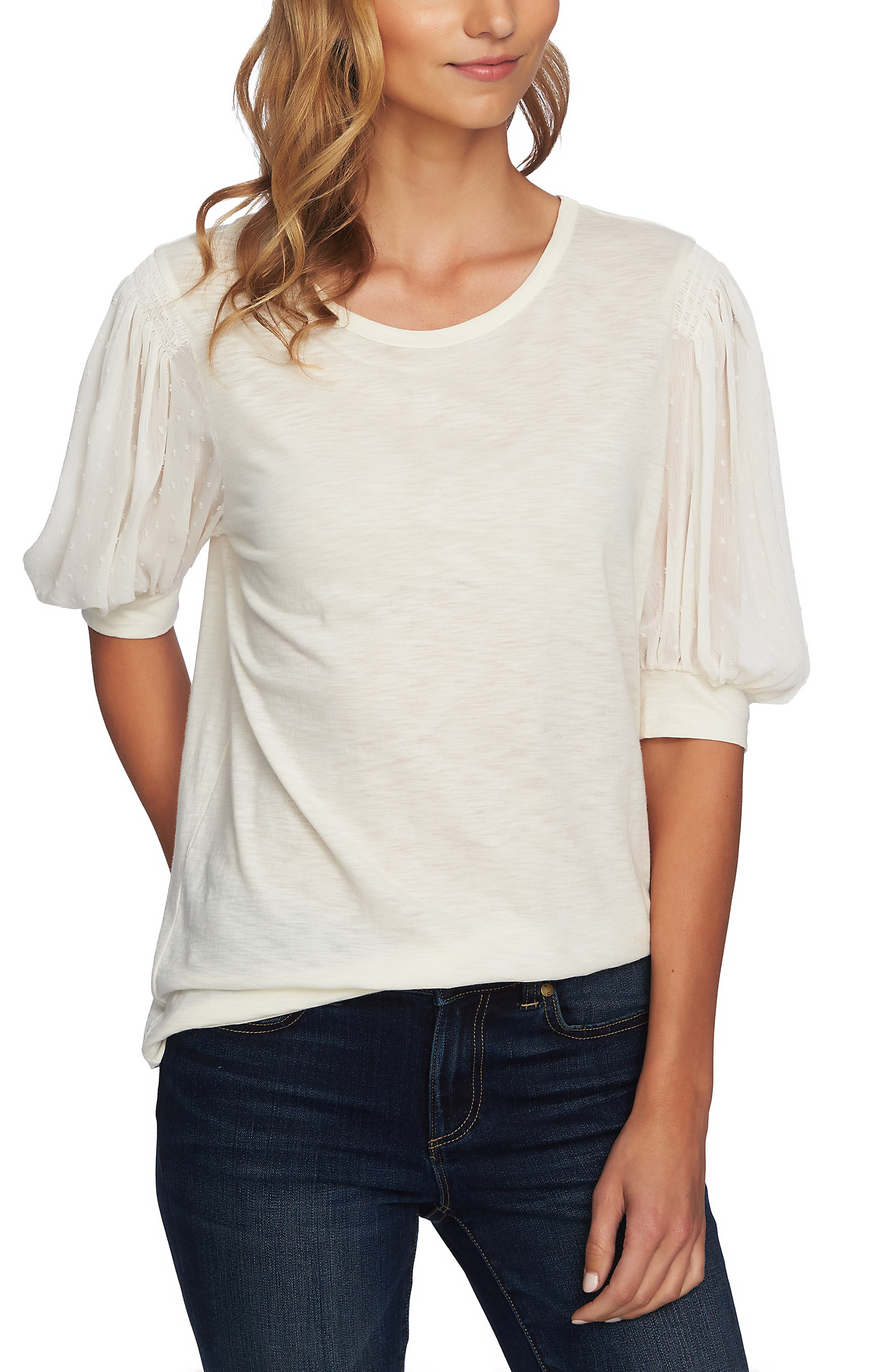 Puffed Sleeve Tee,                             Main thumbnail 1, color,                             ANTIQUE WHITE
