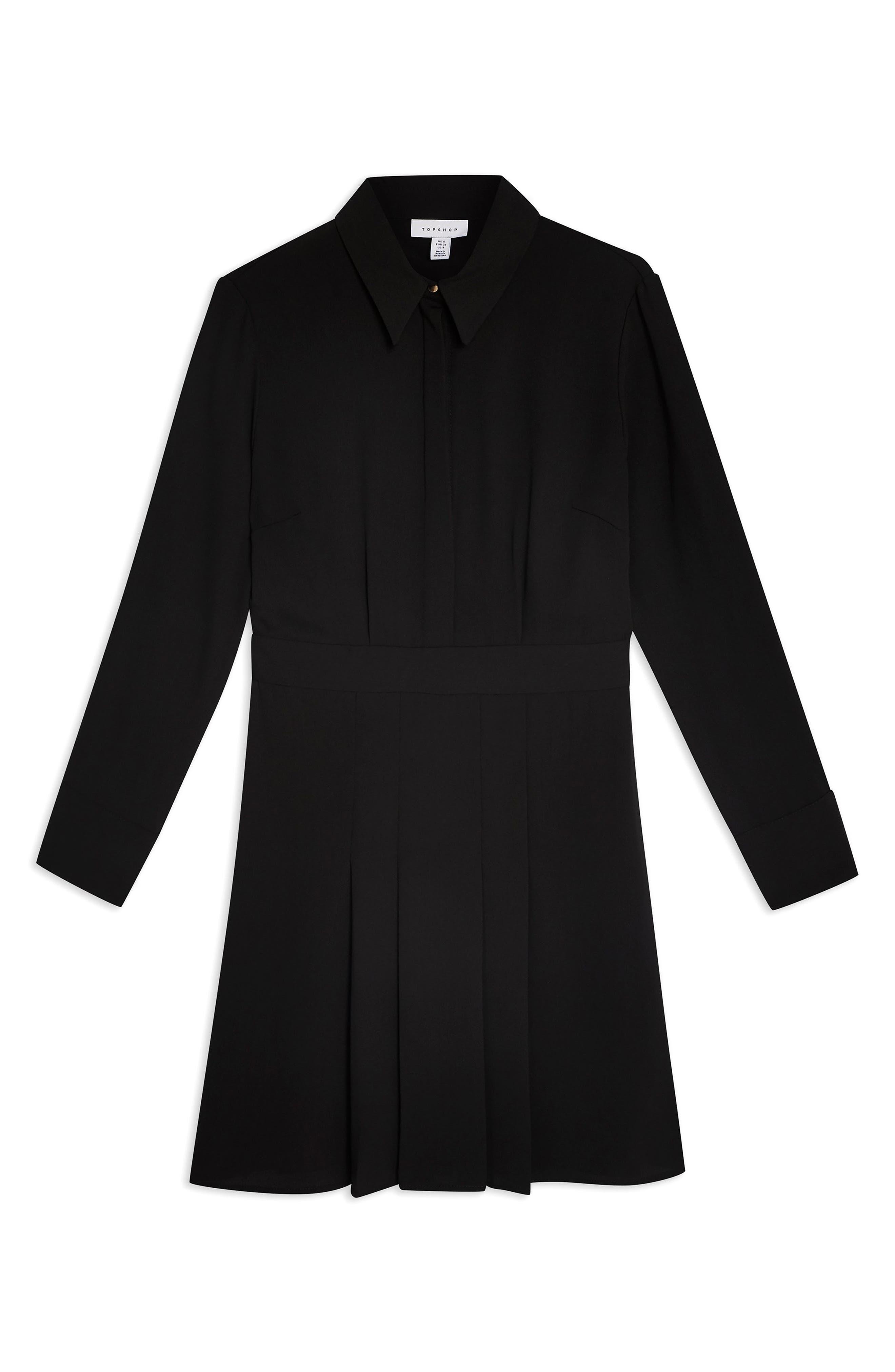TOPSHOP,                             Pleated Mini Shirtdress,                             Alternate thumbnail 4, color,                             BLACK