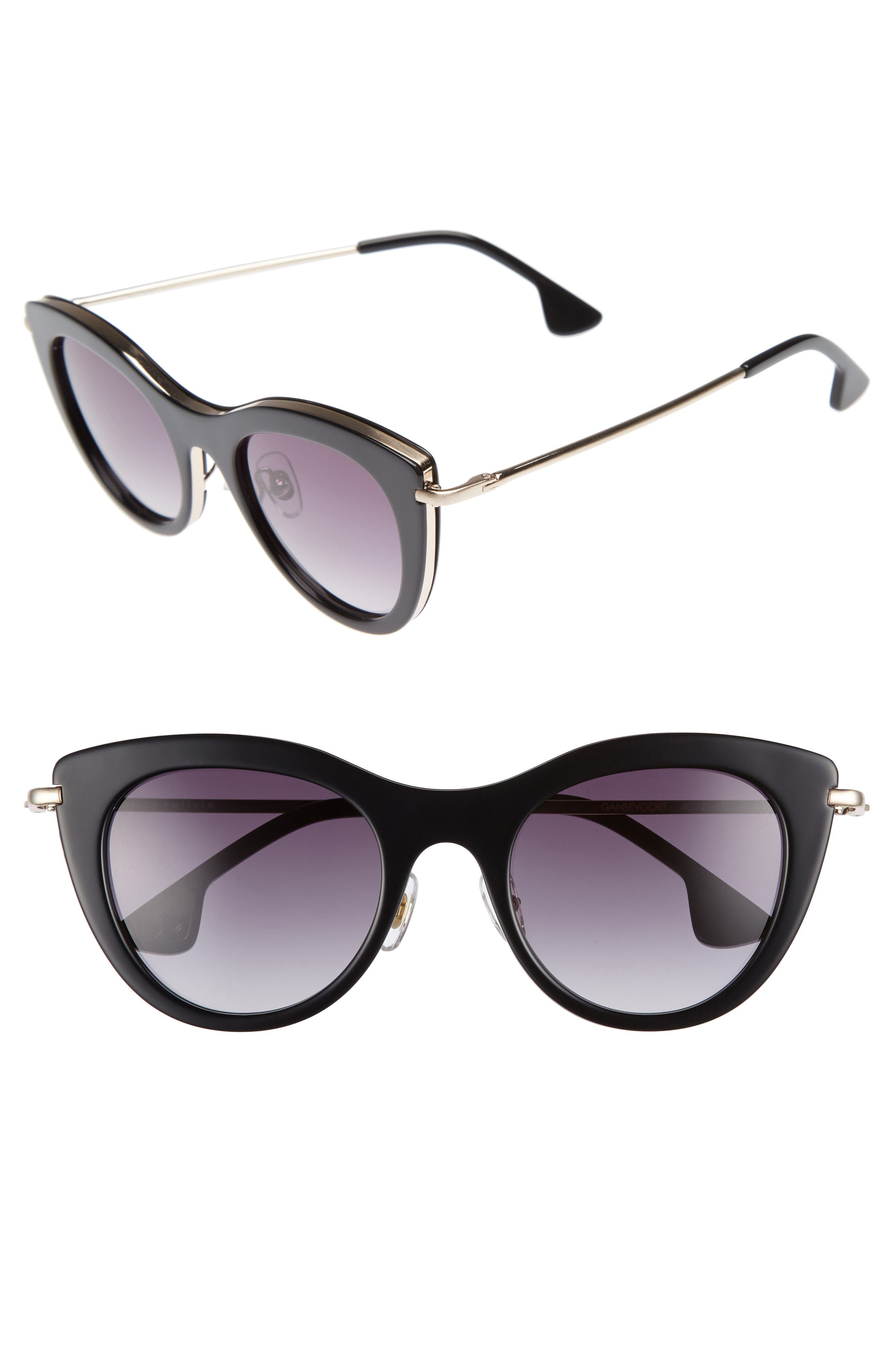 Gansevoort 48mm Special Fit Cat Eye Sunglasses,                         Main,                         color, 001