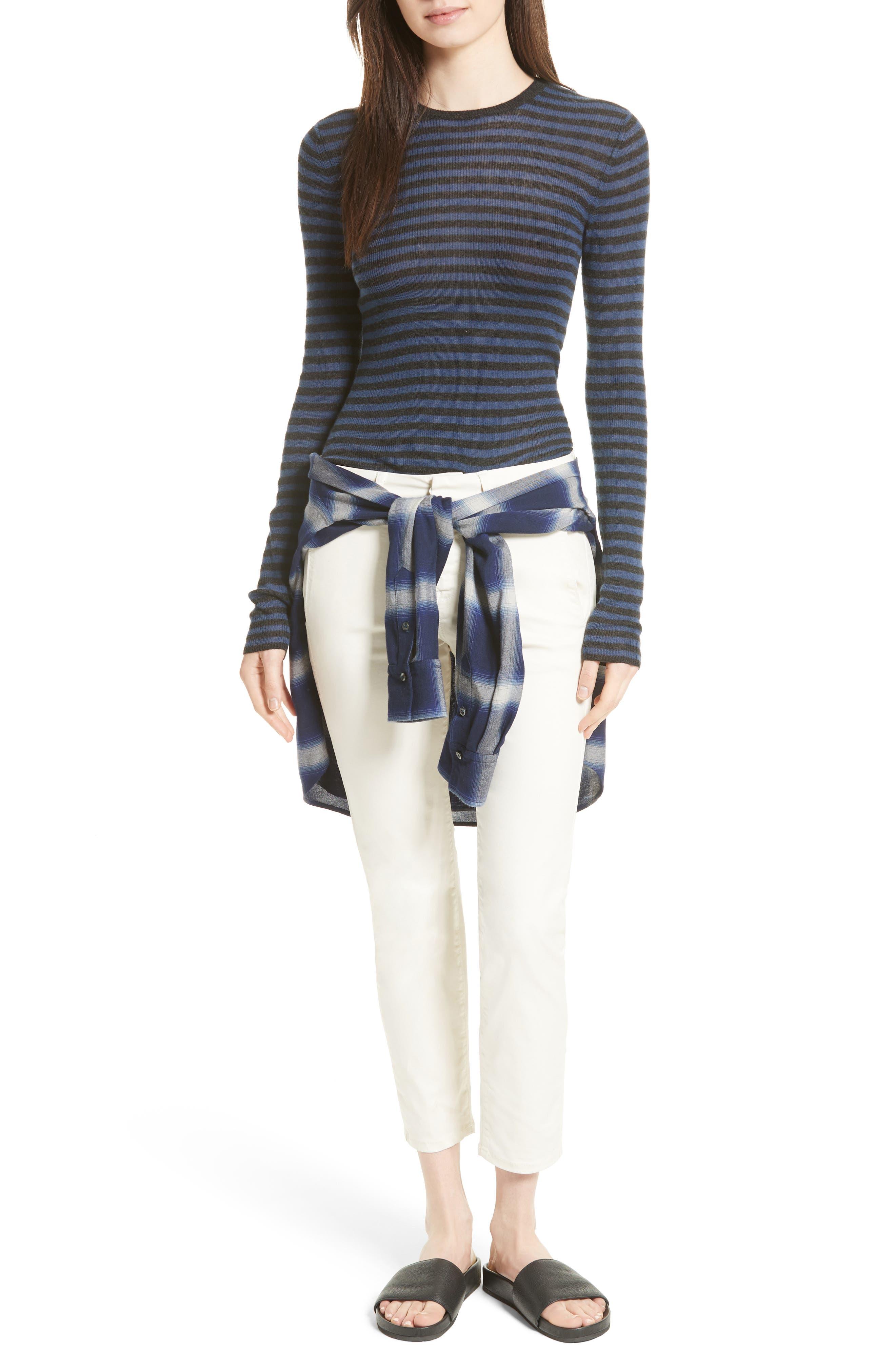 Stripe Cashmere Sweater,                             Alternate thumbnail 6, color,                             472